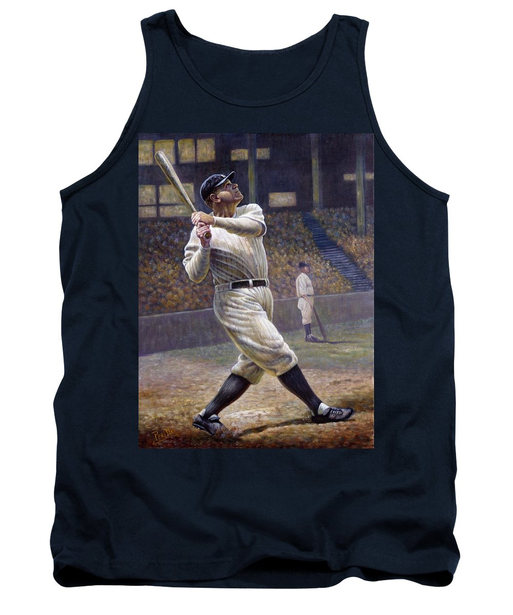 714 Tank Top featuring the painting Babe Ruth by Gregory Perillo