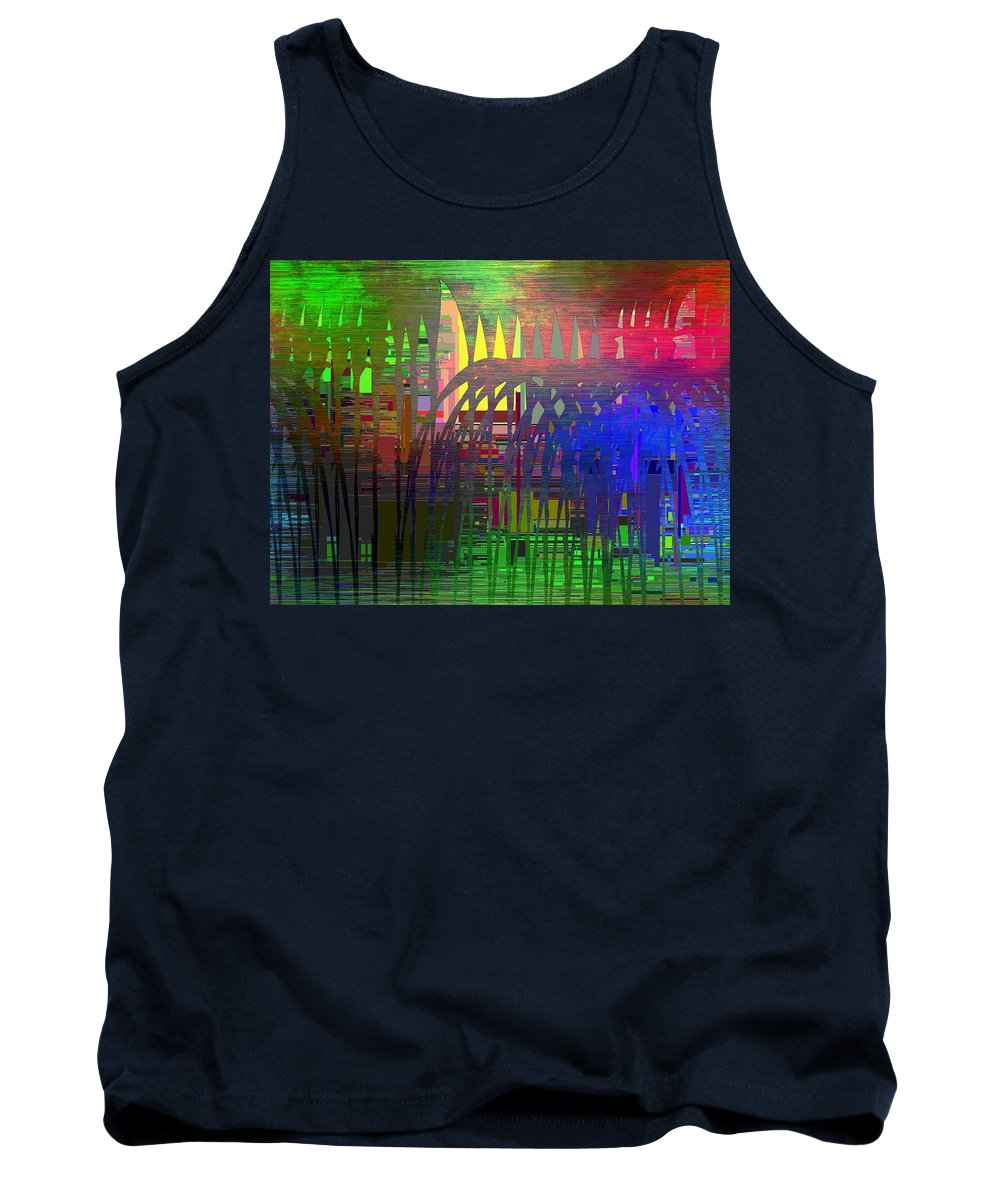 Abstract Tank Top featuring the digital art Barbed Wire Cubed 3 by Tim Allen