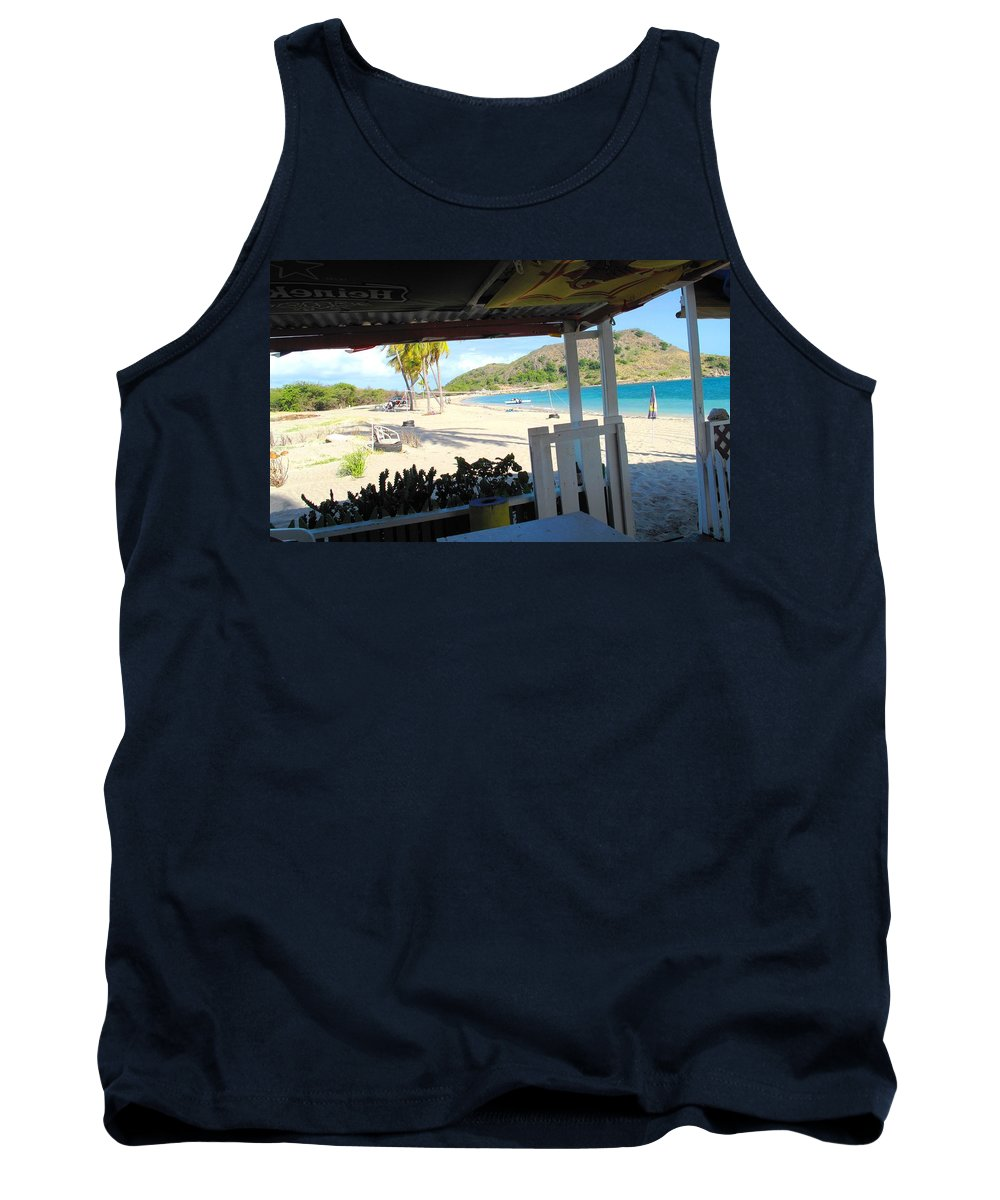 St Kitts Tank Top featuring the photograph Beach Bar In January by Ian MacDonald