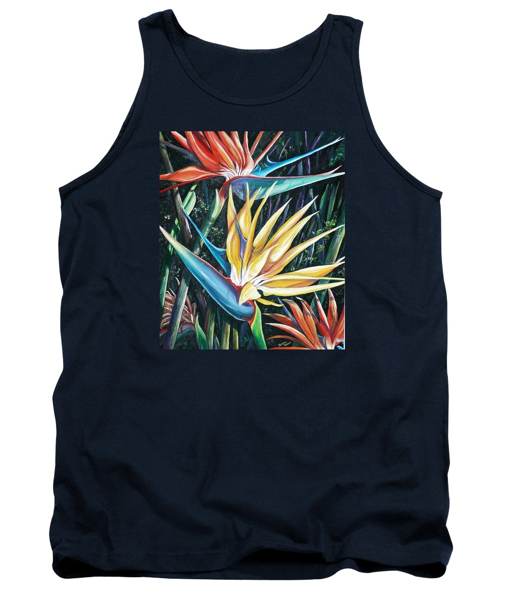Caribbean Paintings Flower Paintings Bird Of Paradise Paintings  Lily Tropical Paintings Caribbean Flower Paintings Tropical Paintings Tropical Flower Paintings Greeting Card Paintings Canvas Print Paintings Poster Print Paintings Bloom Colorful Tank Top featuring the painting Birds Of Paradise 2  Sold by Karin Dawn Kelshall- Best