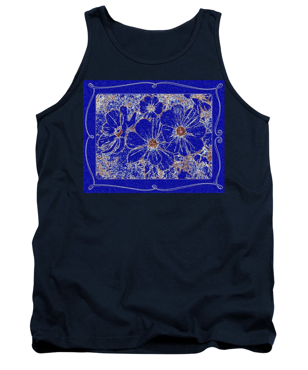 Blue Cosmos Abstract Tank Top featuring the digital art Blue Cosmos Abstract by Will Borden