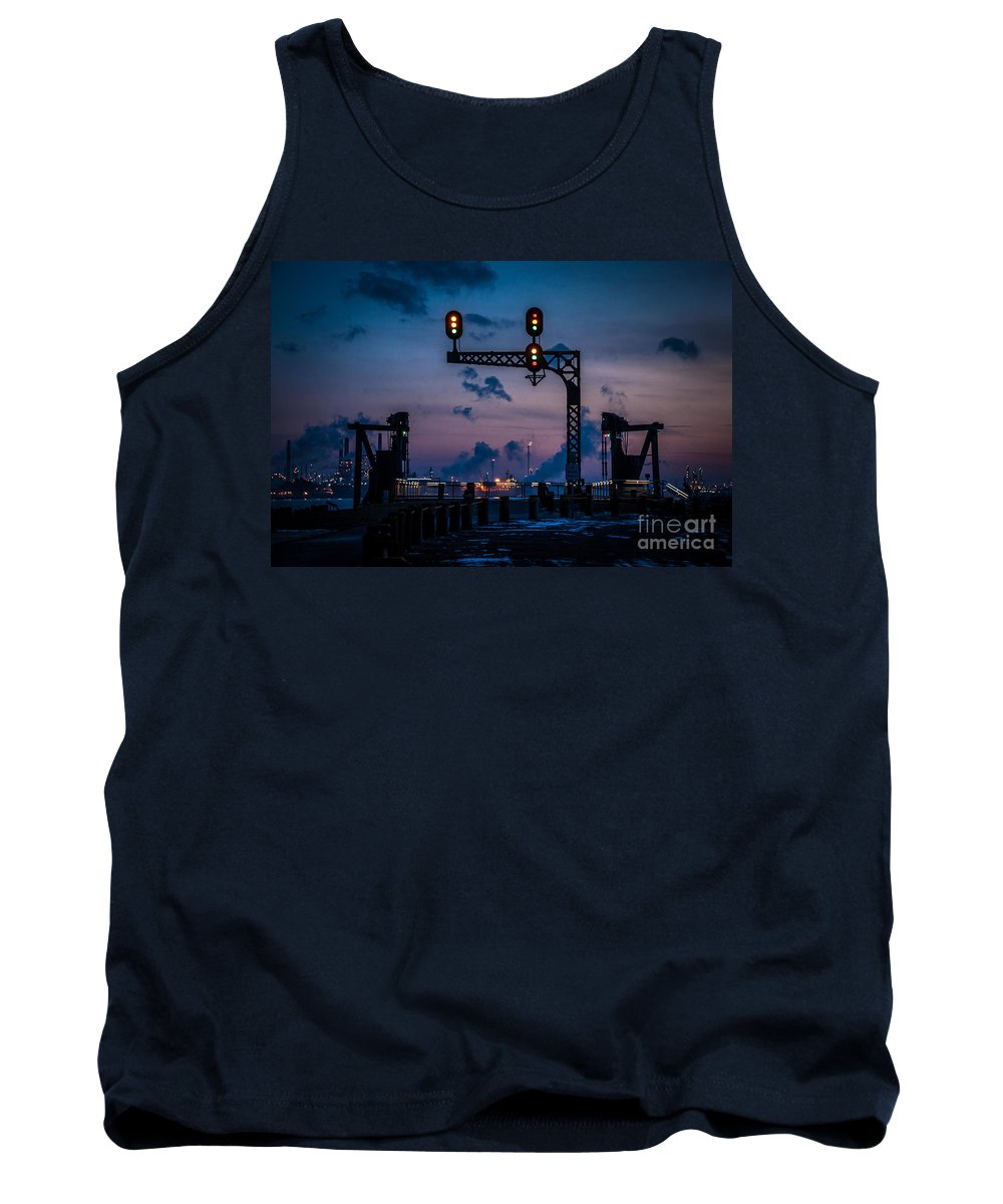 River Walk Tank Top featuring the photograph Blue Water River Walk At Dusk by Ronald Grogan