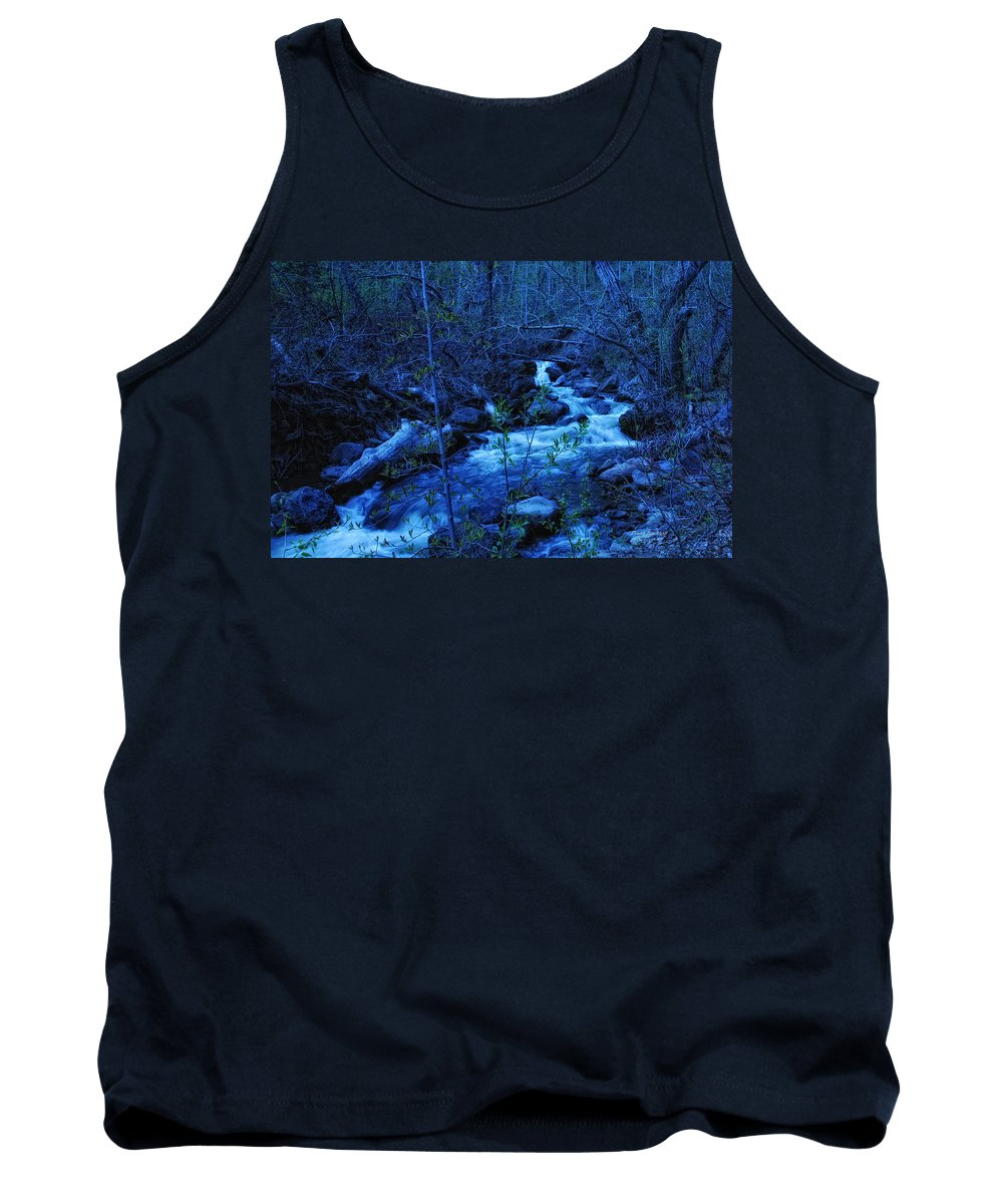 Blue Tank Top featuring the photograph Blues Traveler by Donna Blackhall