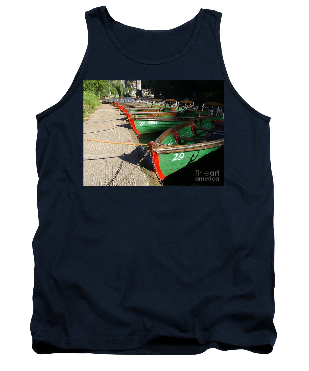 Boating On The River Nidd Tank Top featuring the photograph Rowboats by Doc Braham