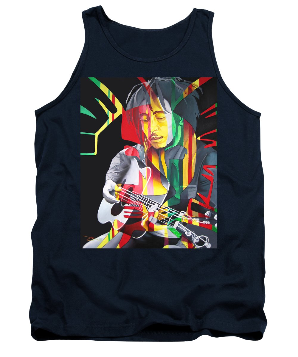 Bob Marley Tank Top featuring the painting Bob Marley And Rasta Lion by Joshua Morton