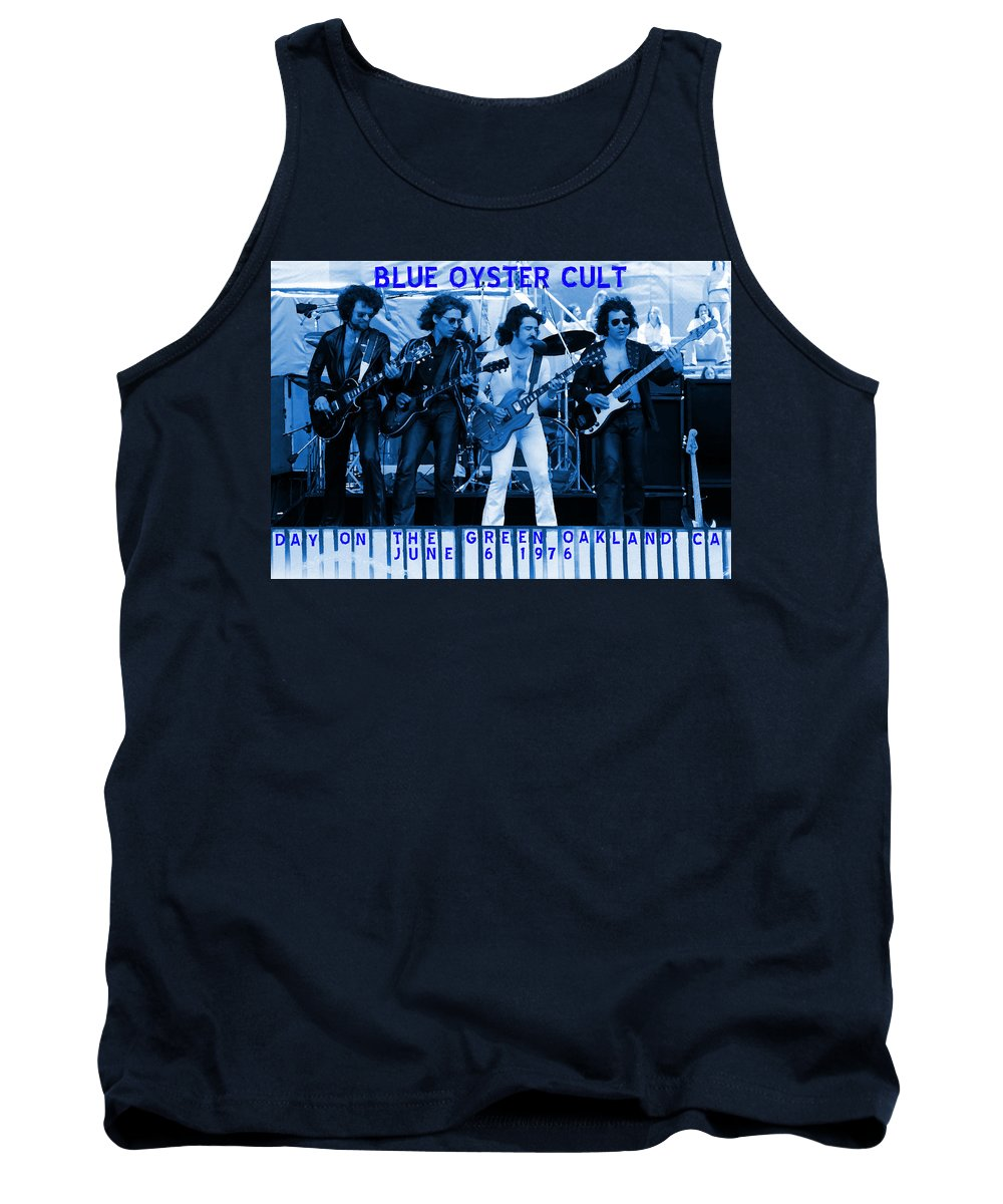 Blue Oyster Cult Tank Top featuring the photograph Boc #103 In Blue With Text by Ben Upham