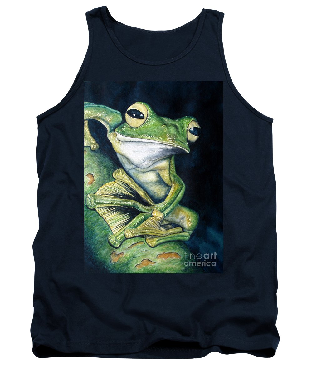 Frog Tank Top featuring the painting Boreal Flyer Tree Frog by Joey Nash