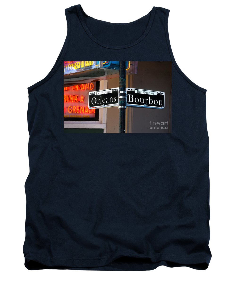 New Orleans Tank Top featuring the photograph Bourbon And Orleans by Jerry Fornarotto