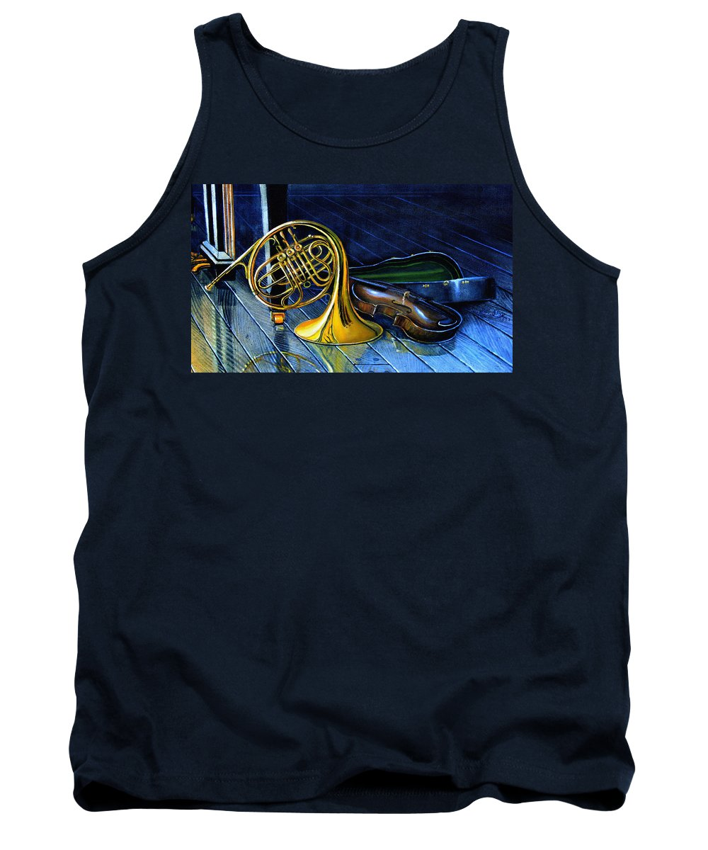 Musical Instrument Still Life Tank Top featuring the painting Brass And Strings by Hanne Lore Koehler