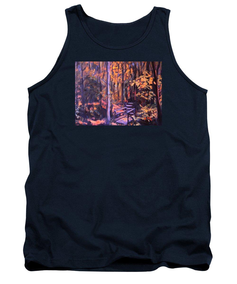 Woods Tank Top featuring the painting Bridge In Woods Near Pandapas by Kendall Kessler