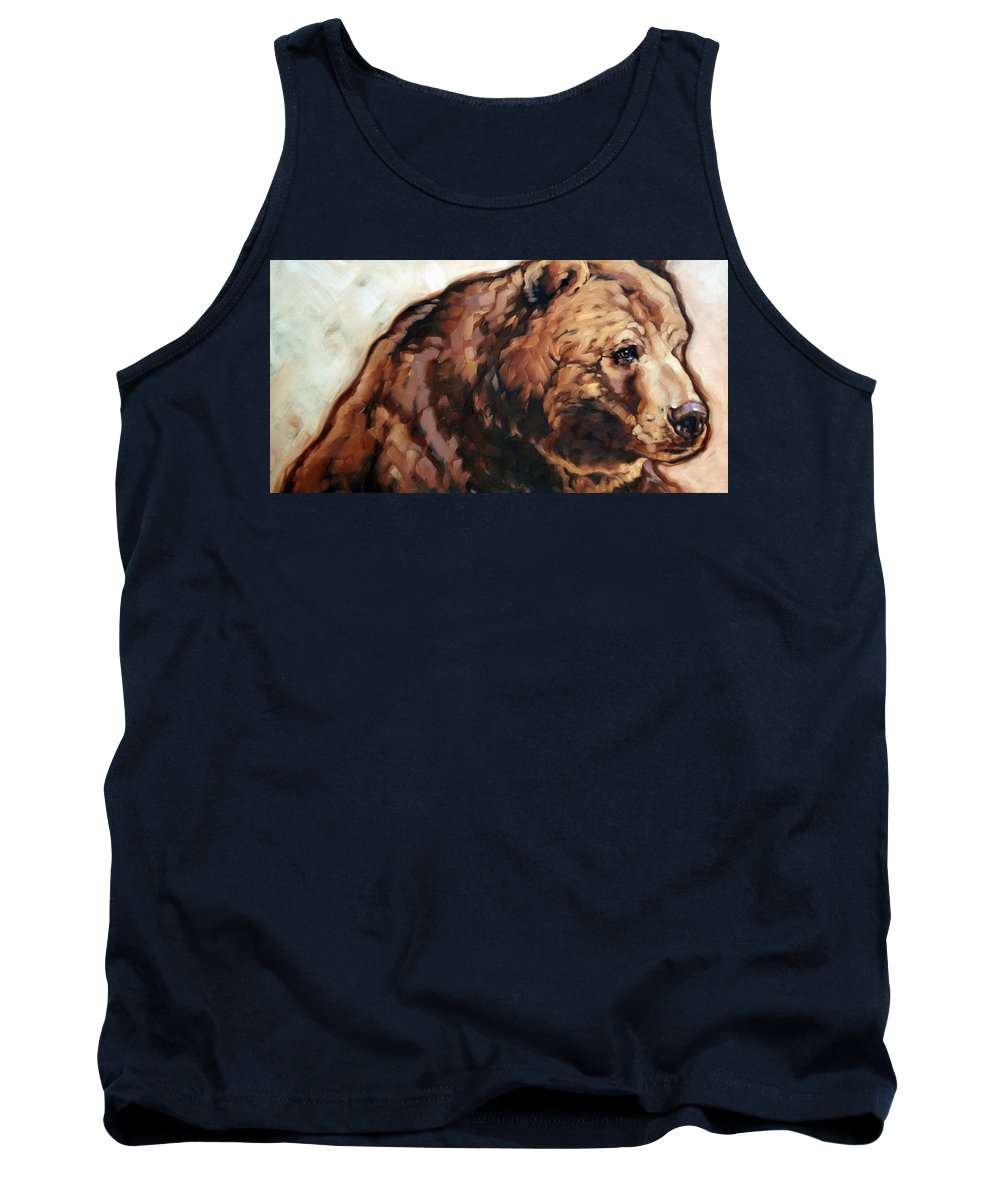 Animals Tank Top featuring the painting Bronx Bear by Carrie Cook