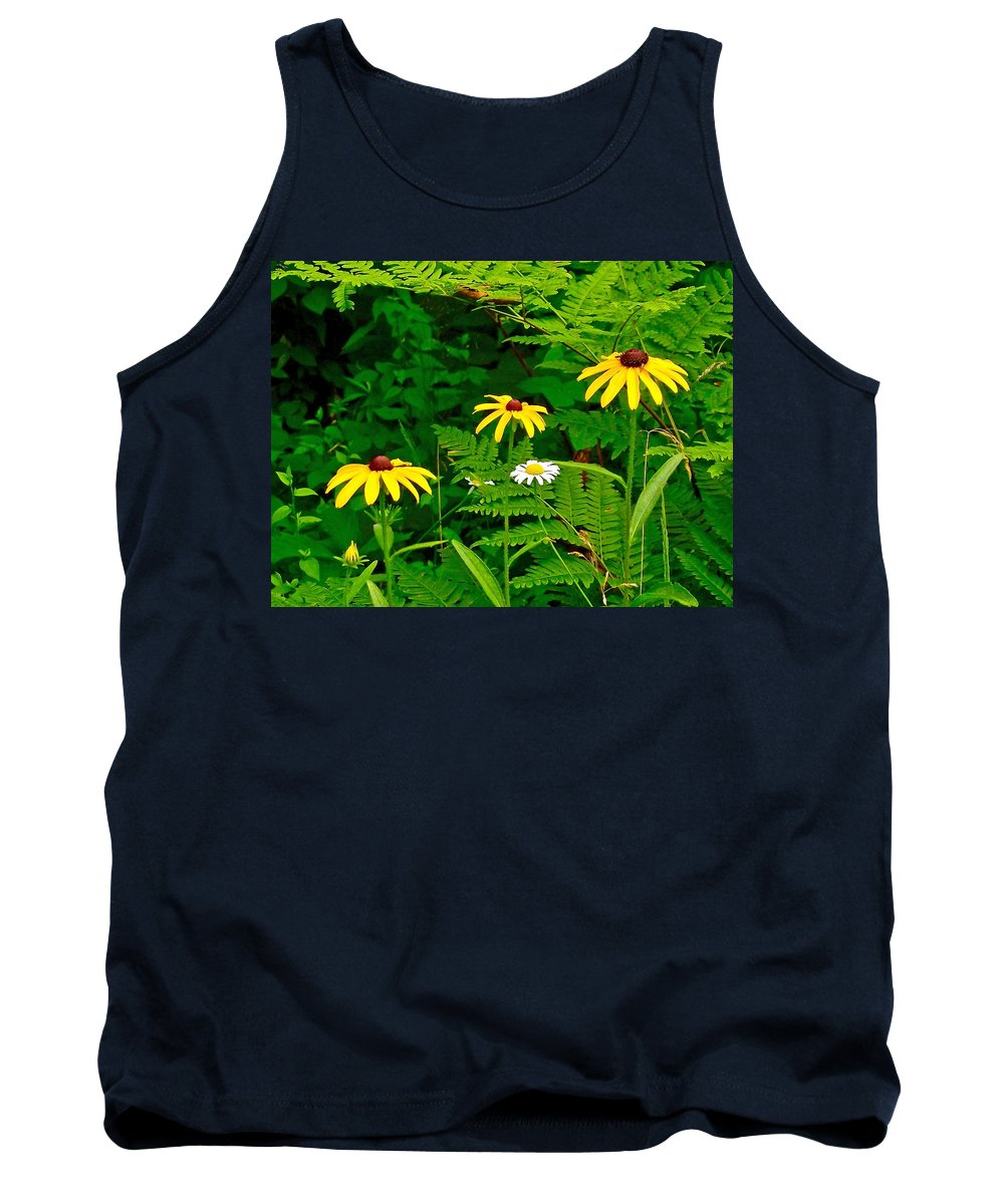 Brown-eyed Susans Along Rivier Du Nord In The Laurentians North Of Montreal Tank Top featuring the photograph Brown-eyed Susans Along Rivier Du Nord Trail In The Laurentians-quebec by Ruth Hager
