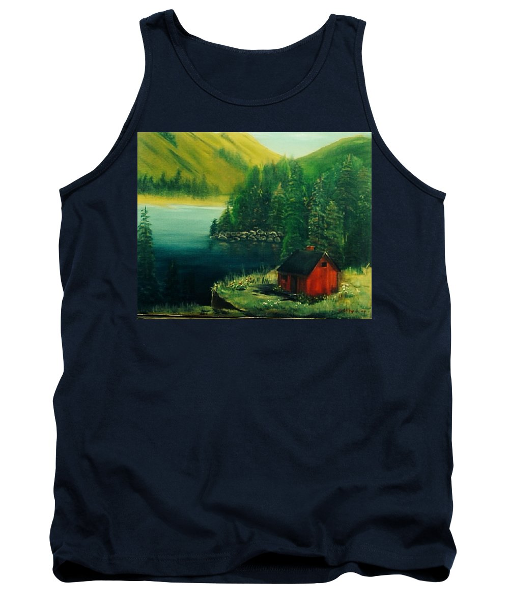 Landscapes Tank Top featuring the painting Cabin In The Catskills by Catherine Swerediuk