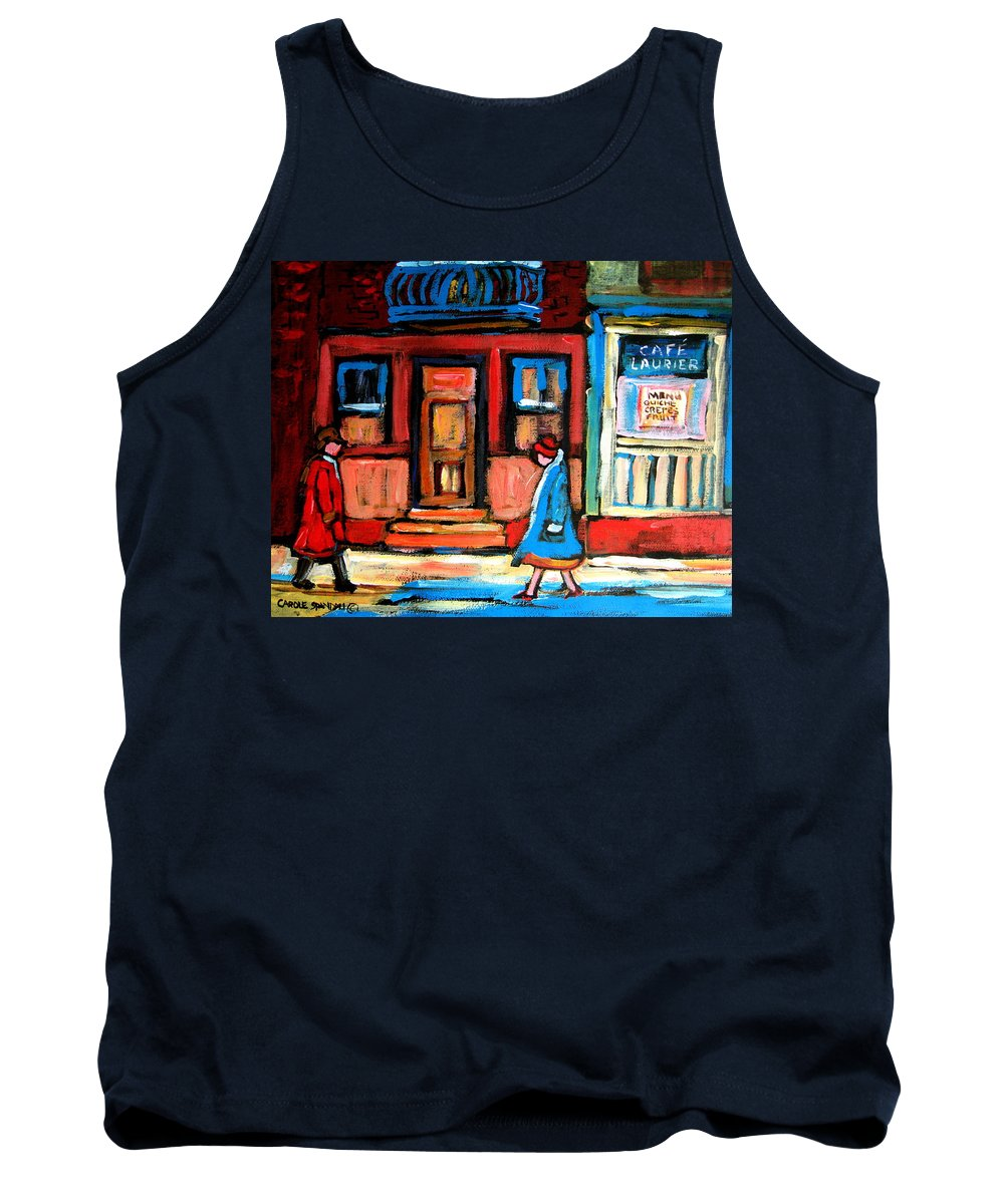 Cafe Laurier Montreal Tank Top featuring the painting Cafe Laurier Montreal by Carole Spandau