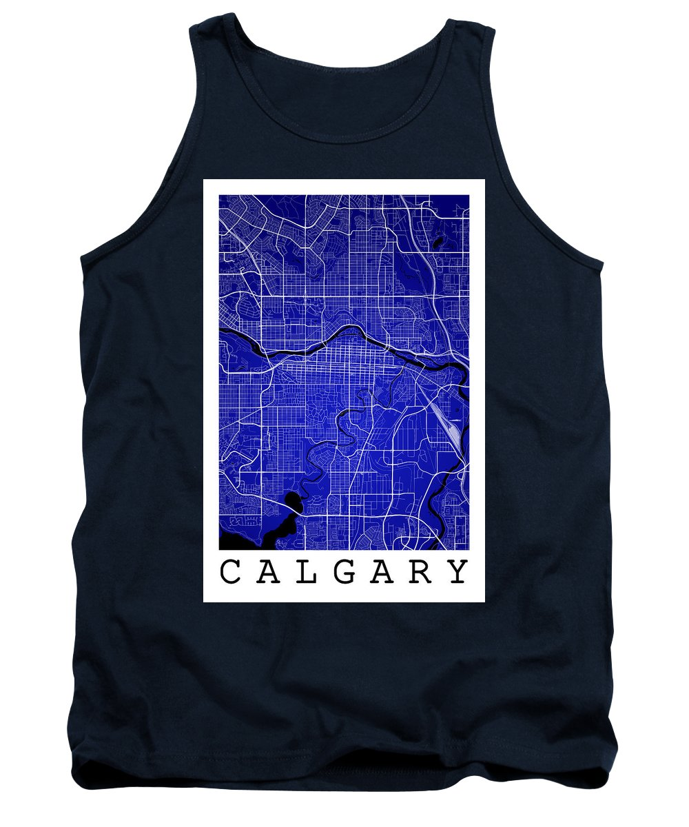 Road Map Tank Top featuring the digital art Calgary Street Map - Calgary Canada Road Map Art On Colored Back by Jurq Studio