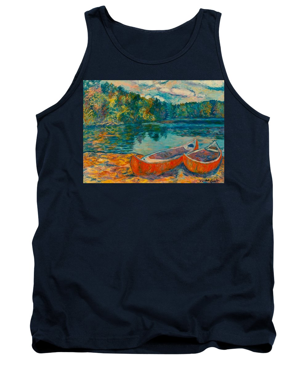 Landscape Tank Top featuring the painting Canoes at Mountain Lake by Kendall Kessler