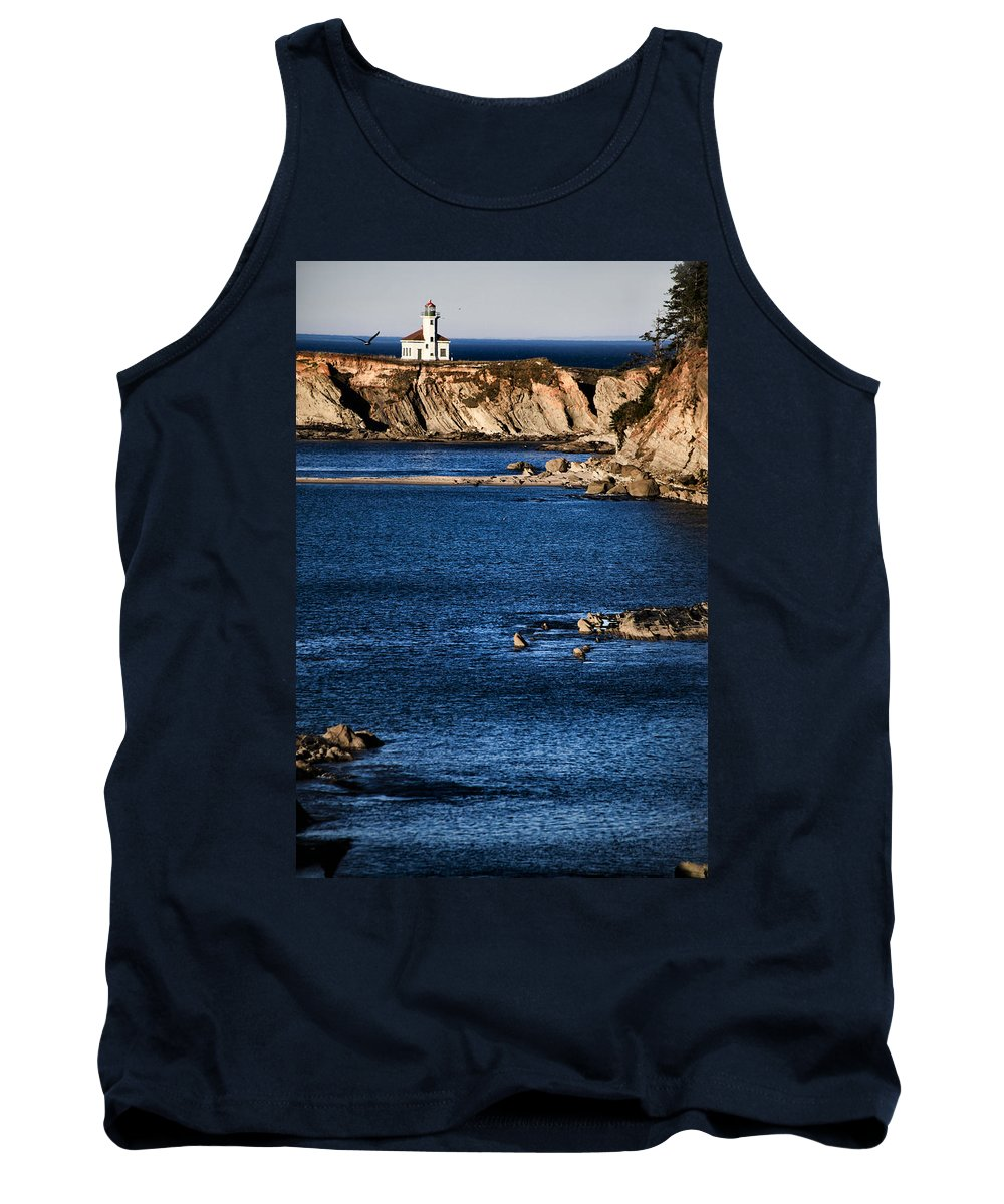 Lighthouse Tank Top featuring the photograph Cape Arago Lighthouse by Sally Bauer
