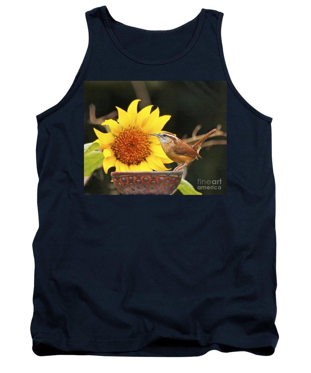 Carolina Wren Bird Photo Tank Top featuring the photograph Carolina Wren And Sunflowers by Luana K Perez