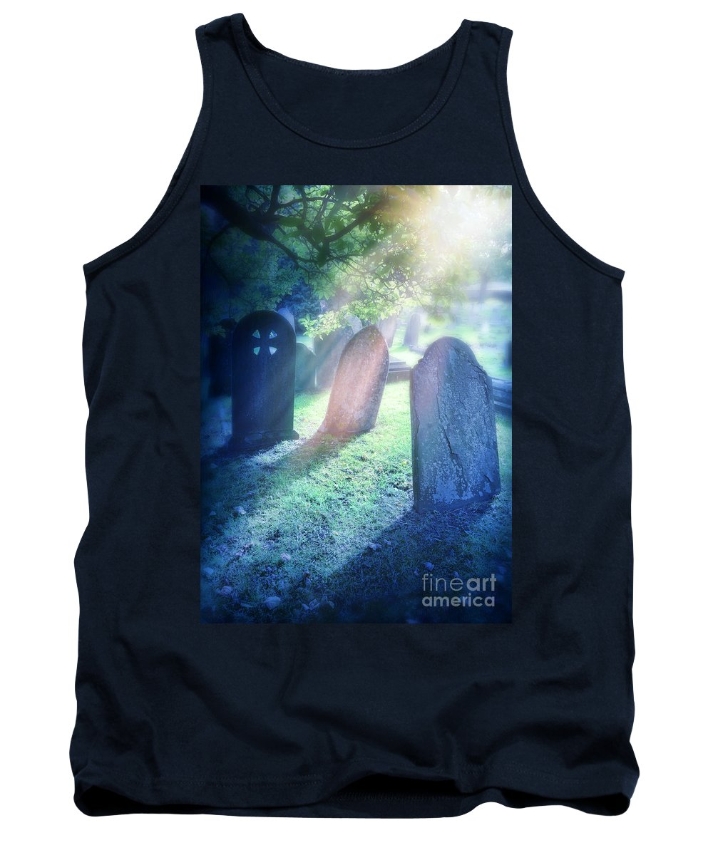 Grave Tank Top featuring the photograph Cemetery Light by Jill Battaglia