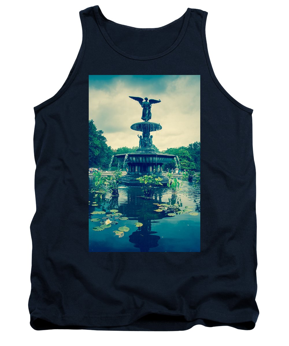 Buildings Tank Top featuring the photograph Central Park Fountain by Amel Dizdarevic