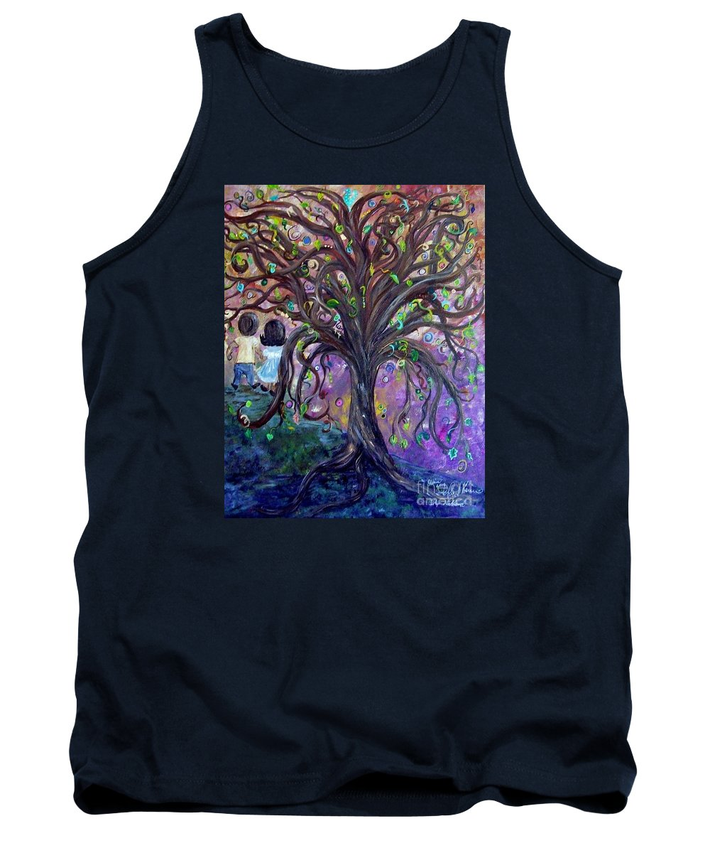 Child Tank Top featuring the painting Children Under The Fantasy Tree With Jackie Joyner-kersee by Eloise Schneider Mote