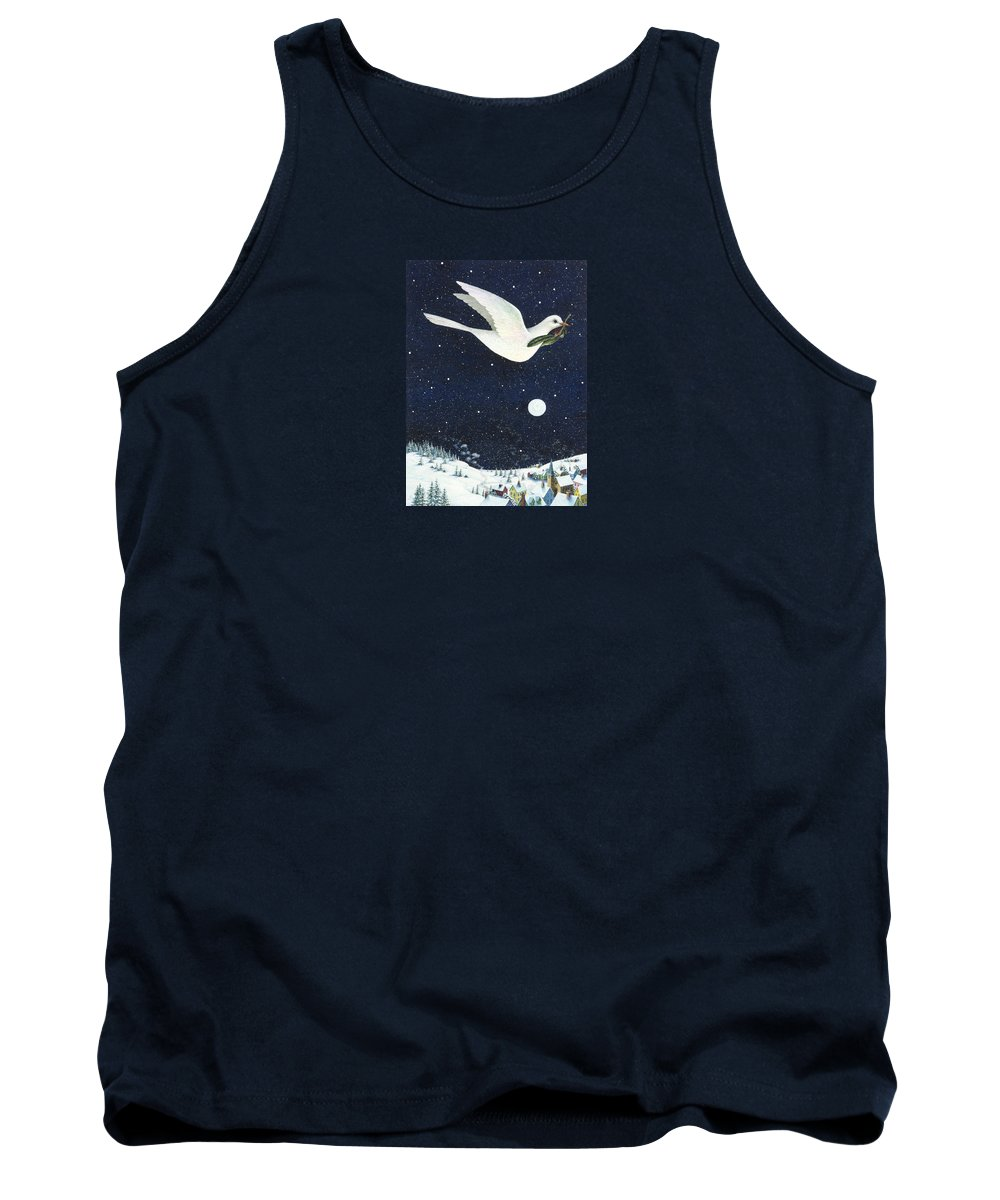 Christmas Tank Top featuring the painting Christmas Dove by Lynn Bywaters