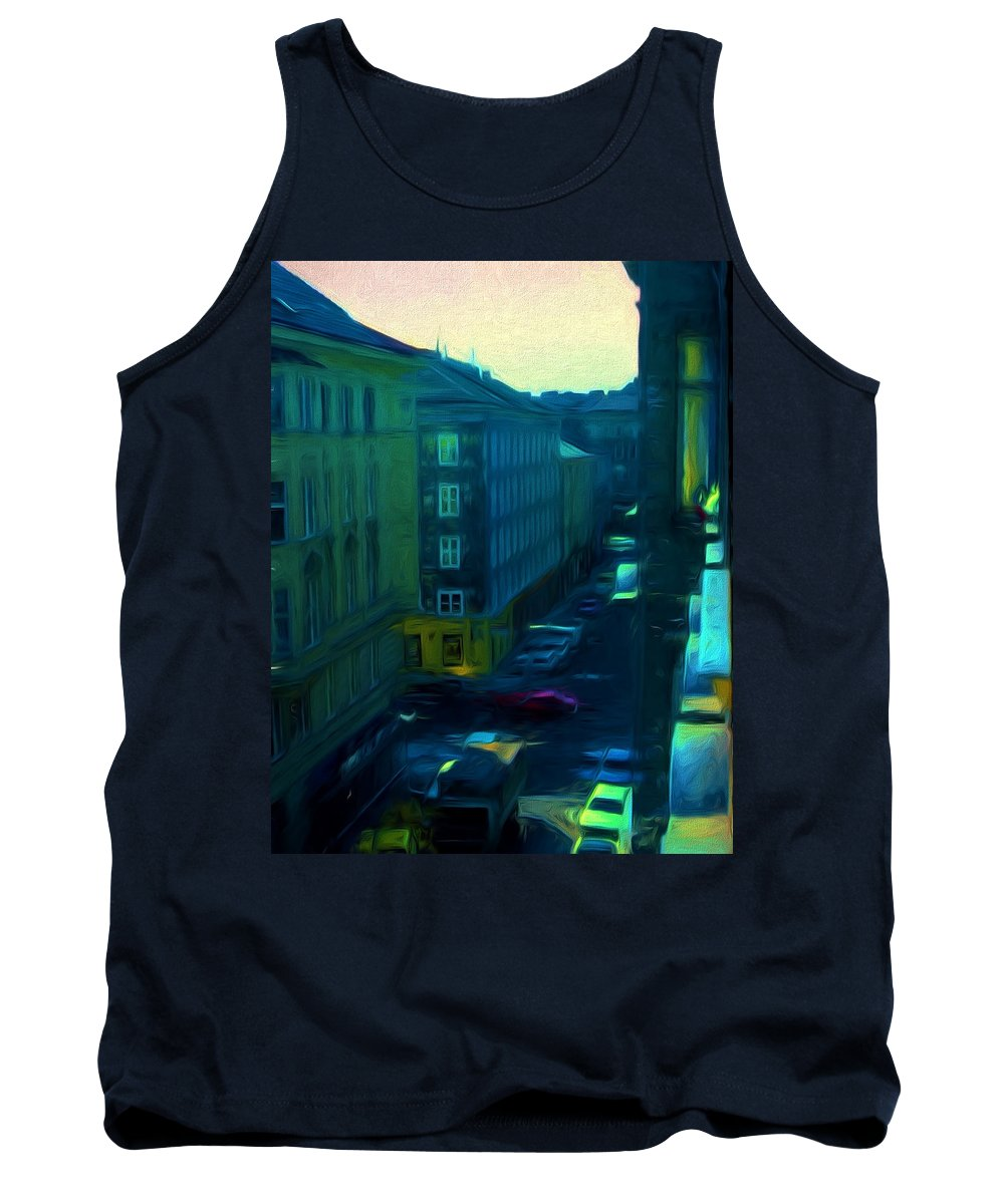 Tank Top featuring the digital art City Streets Digital Painting by Cathy Anderson