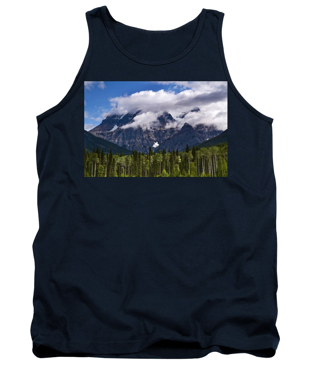 Tank Top featuring the photograph Clouds Around Mountains, Robson by Mathieu Dupuis