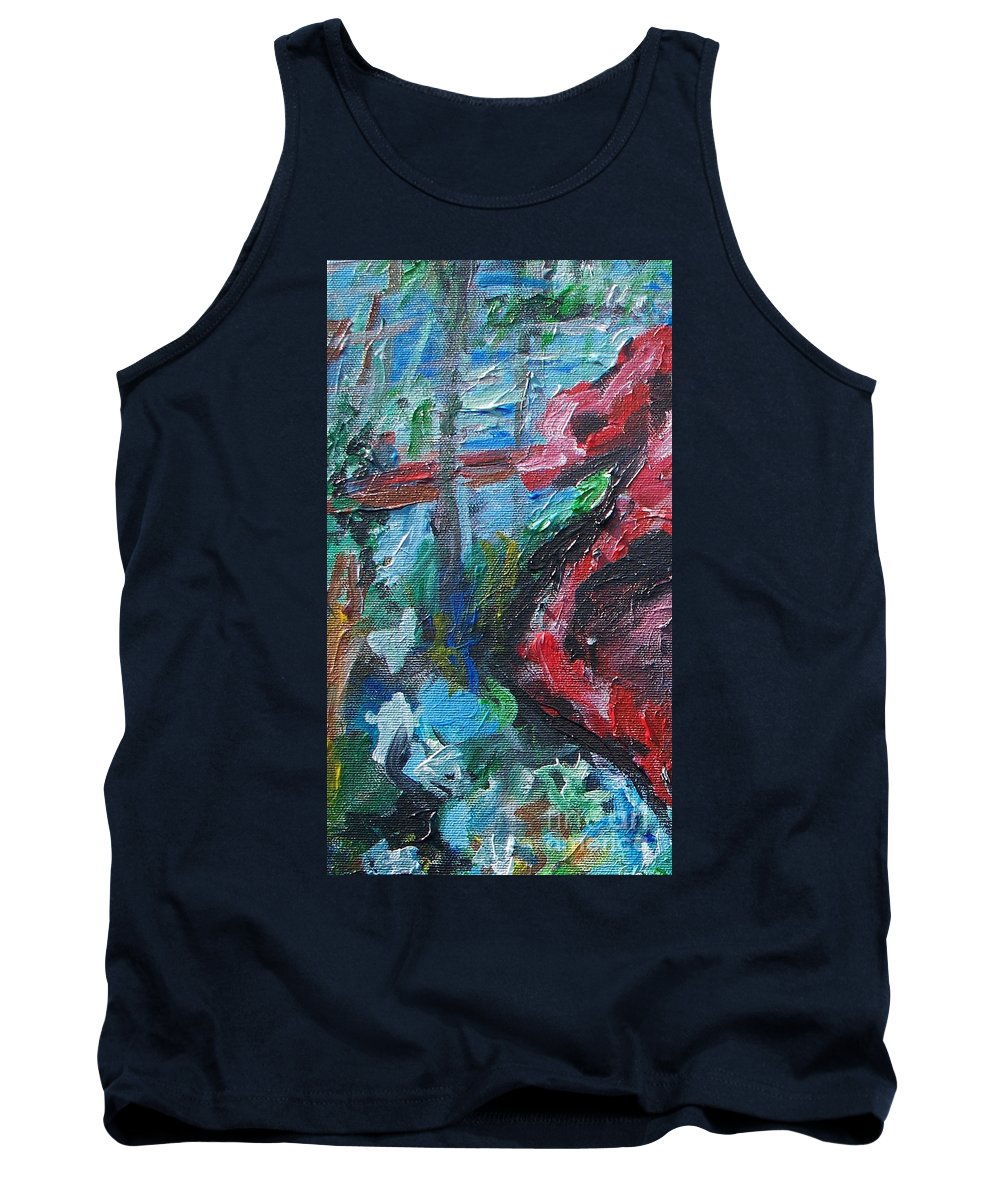 Abstract Tank Top featuring the painting Colorful Impressionism by Eric Schiabor