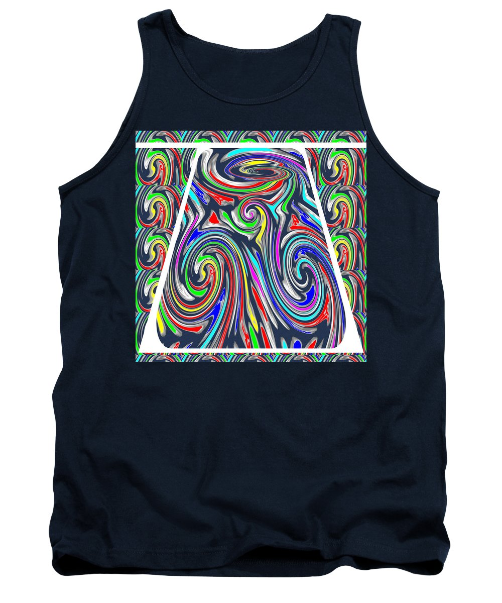 Colorful Tank Top featuring the drawing Colorful Twirl Wave Shield Design Background Designs And Color Tones N Color Shades Available For D by Navin Joshi
