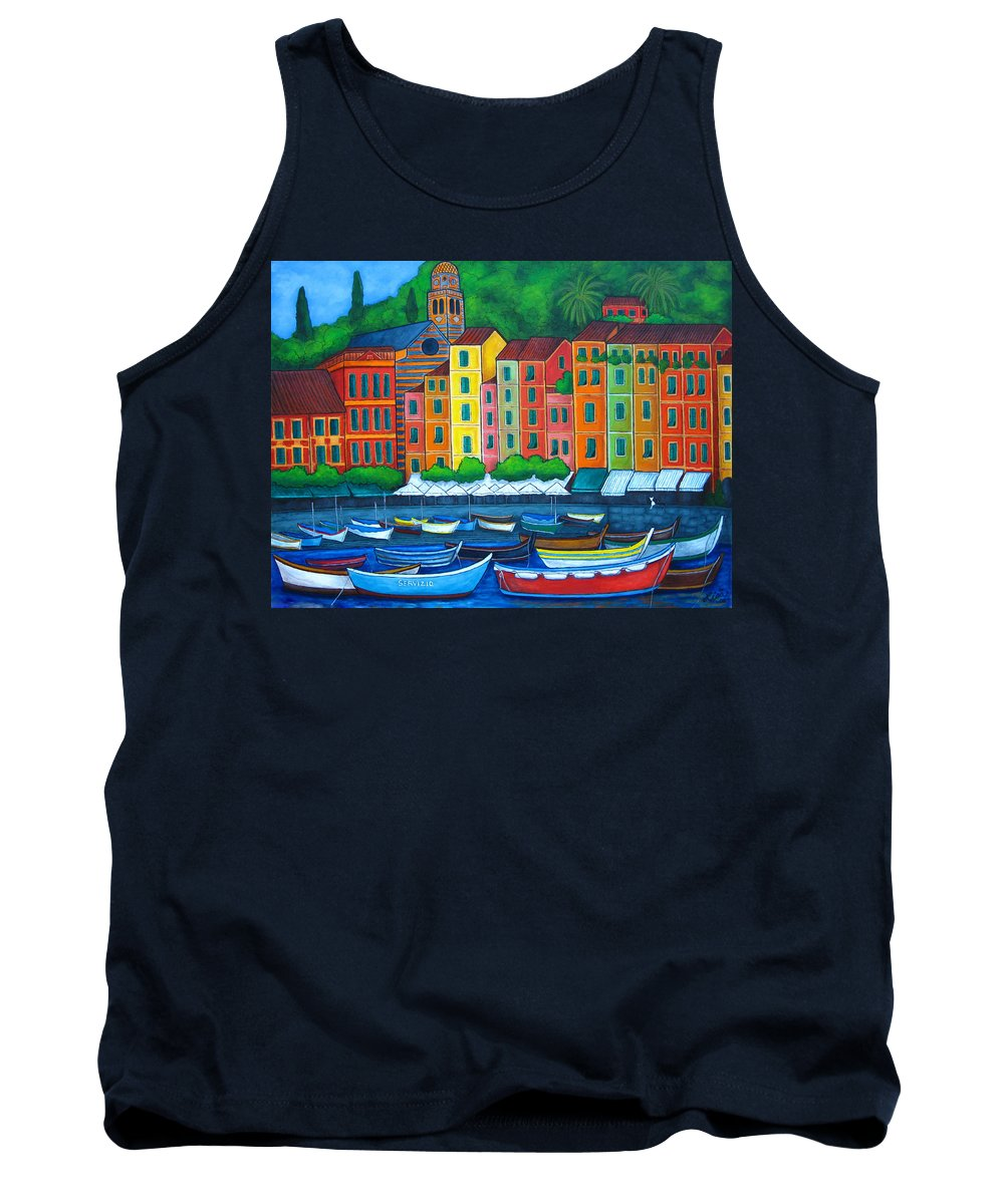 Portofino Tank Top featuring the painting Colours Of Portofino by Lisa Lorenz