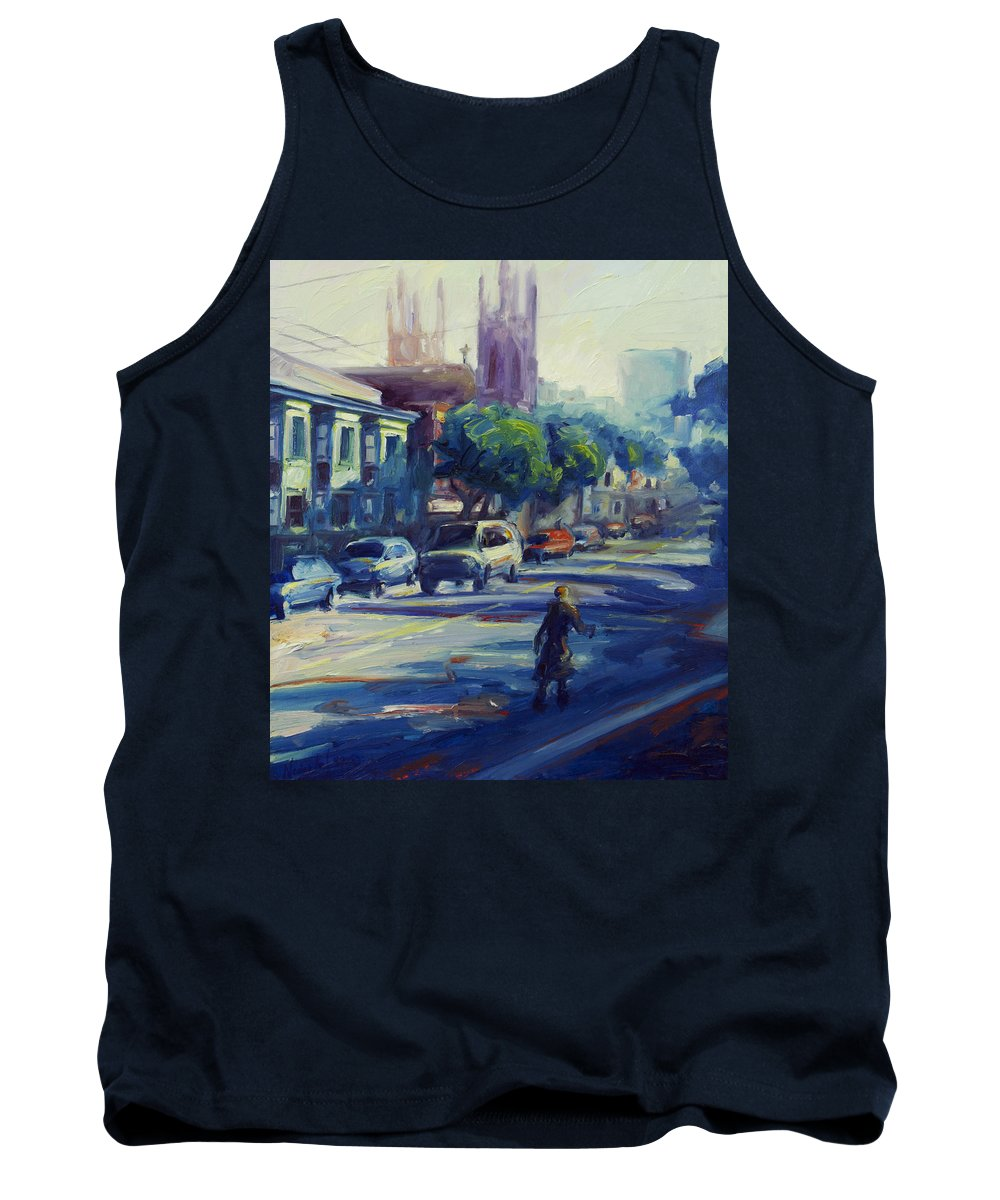 Cityscape Tank Top featuring the painting Columbus Street by Rick Nederlof