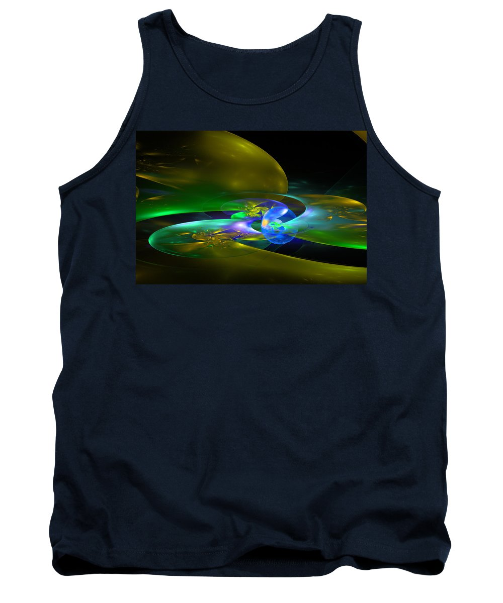 Yellow Tank Top featuring the photograph Computer Generated Planet Sphere Abstract Fractal Flame Modern Art by Keith Webber Jr