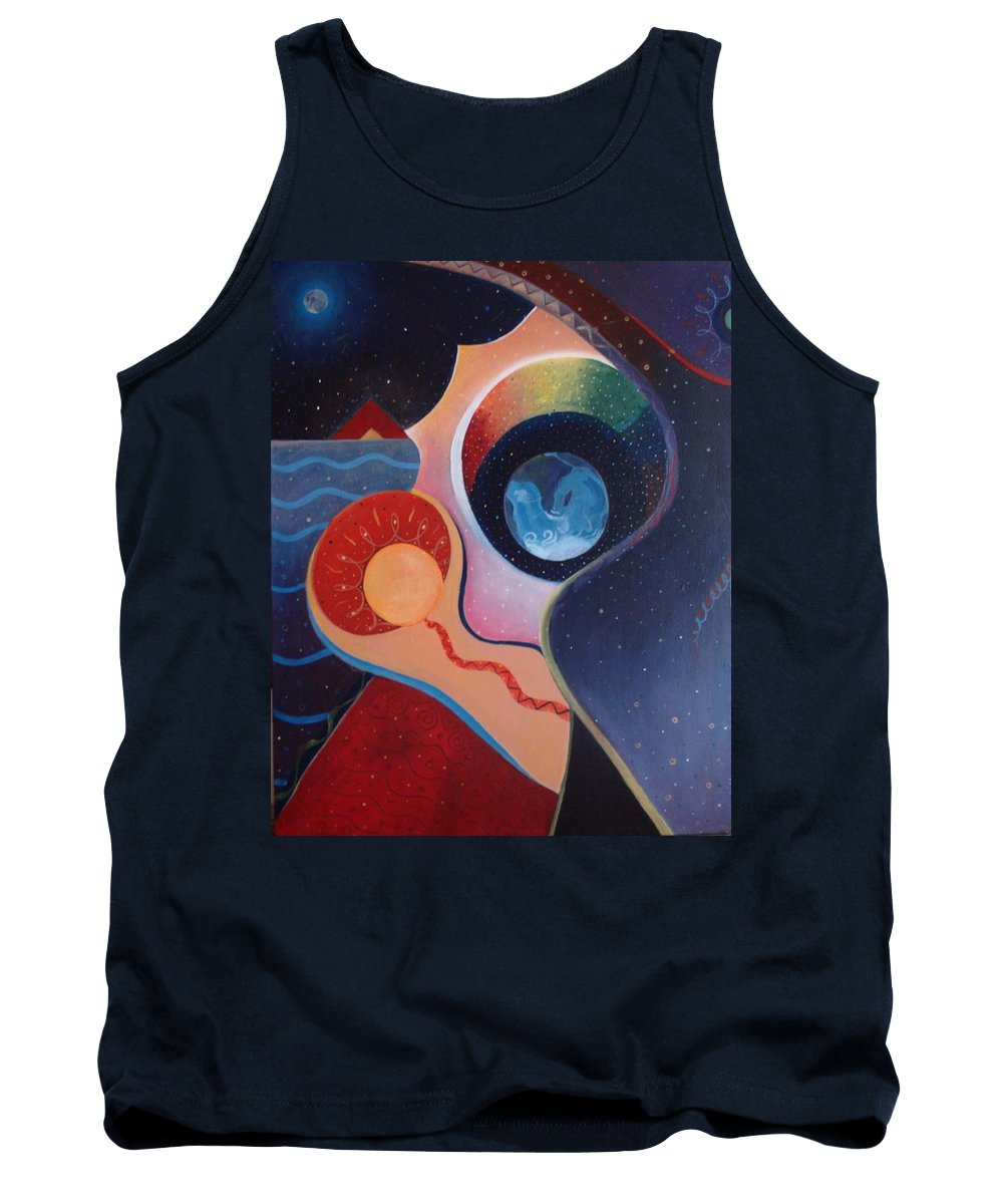 Wanting Tank Top featuring the painting Cosmic Carnival IIl Aka Desire by Helena Tiainen