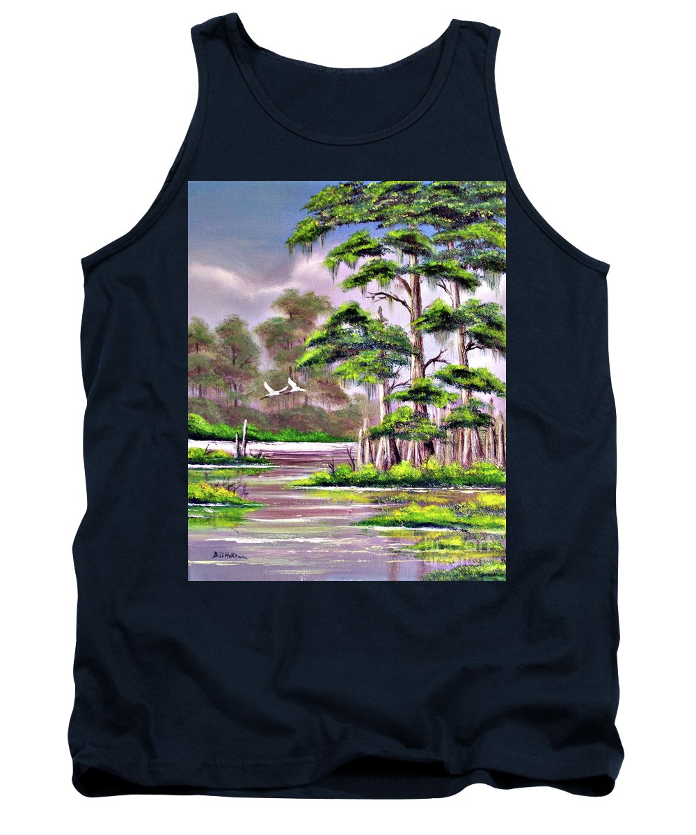 Cypress Tank Top featuring the painting Cypress Trees-wakulla River Florida by Bill Holkham