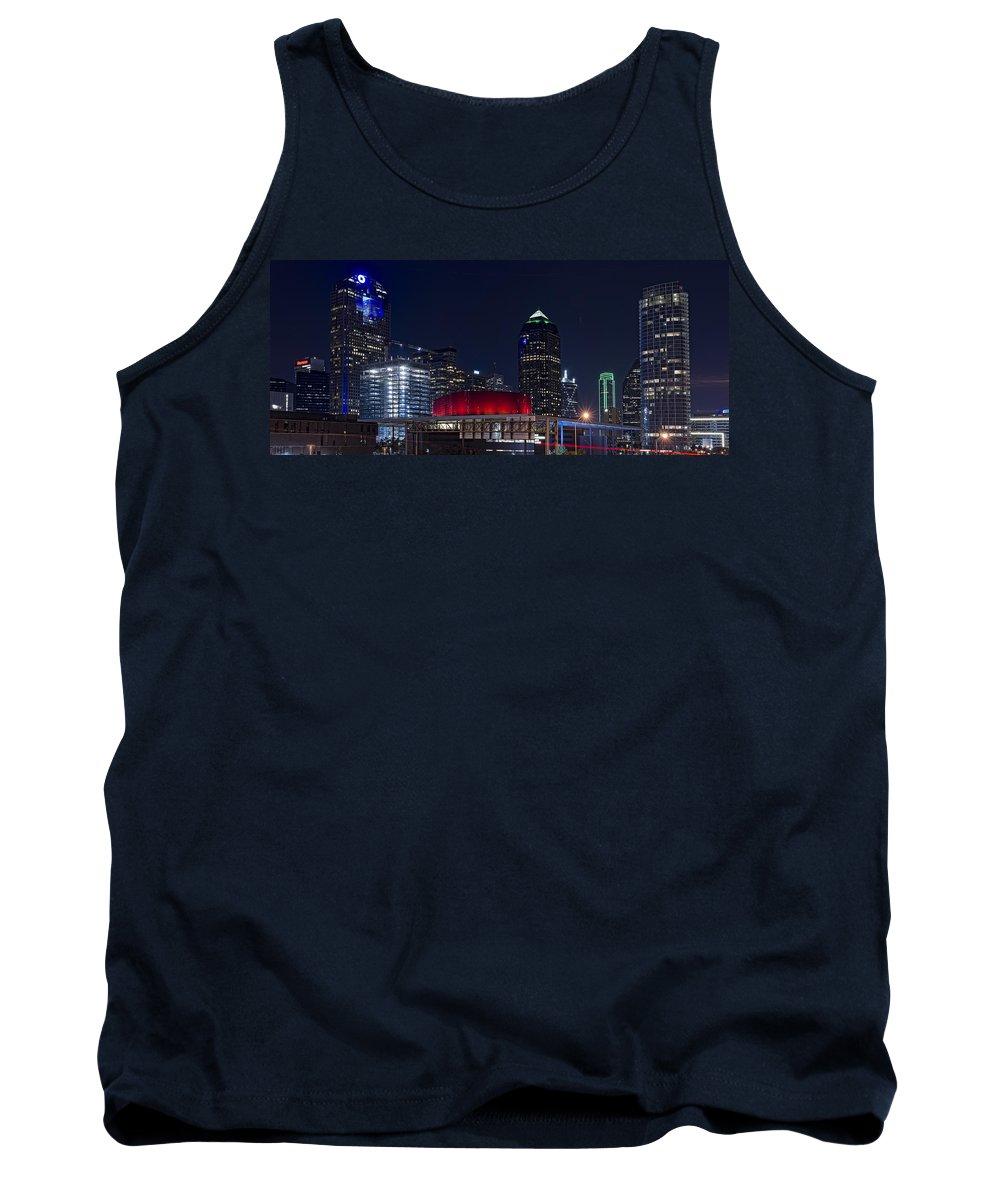 Dallas Tank Top featuring the photograph Dallas Skyline Arts District At Night by Jonathan Davison