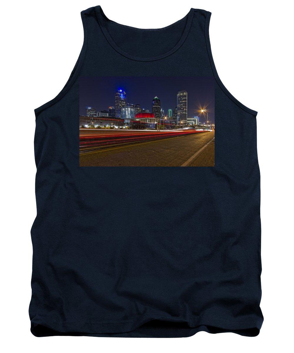 Dallas Tank Top featuring the photograph Dallas Skyline At Night by Jonathan Davison