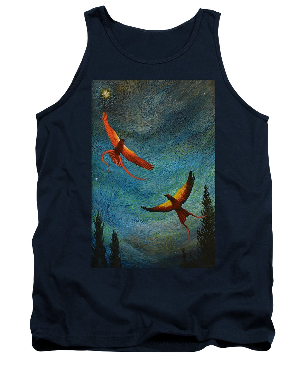 Birds Tank Top featuring the painting Dance Of The Firehawks by Charles Owens