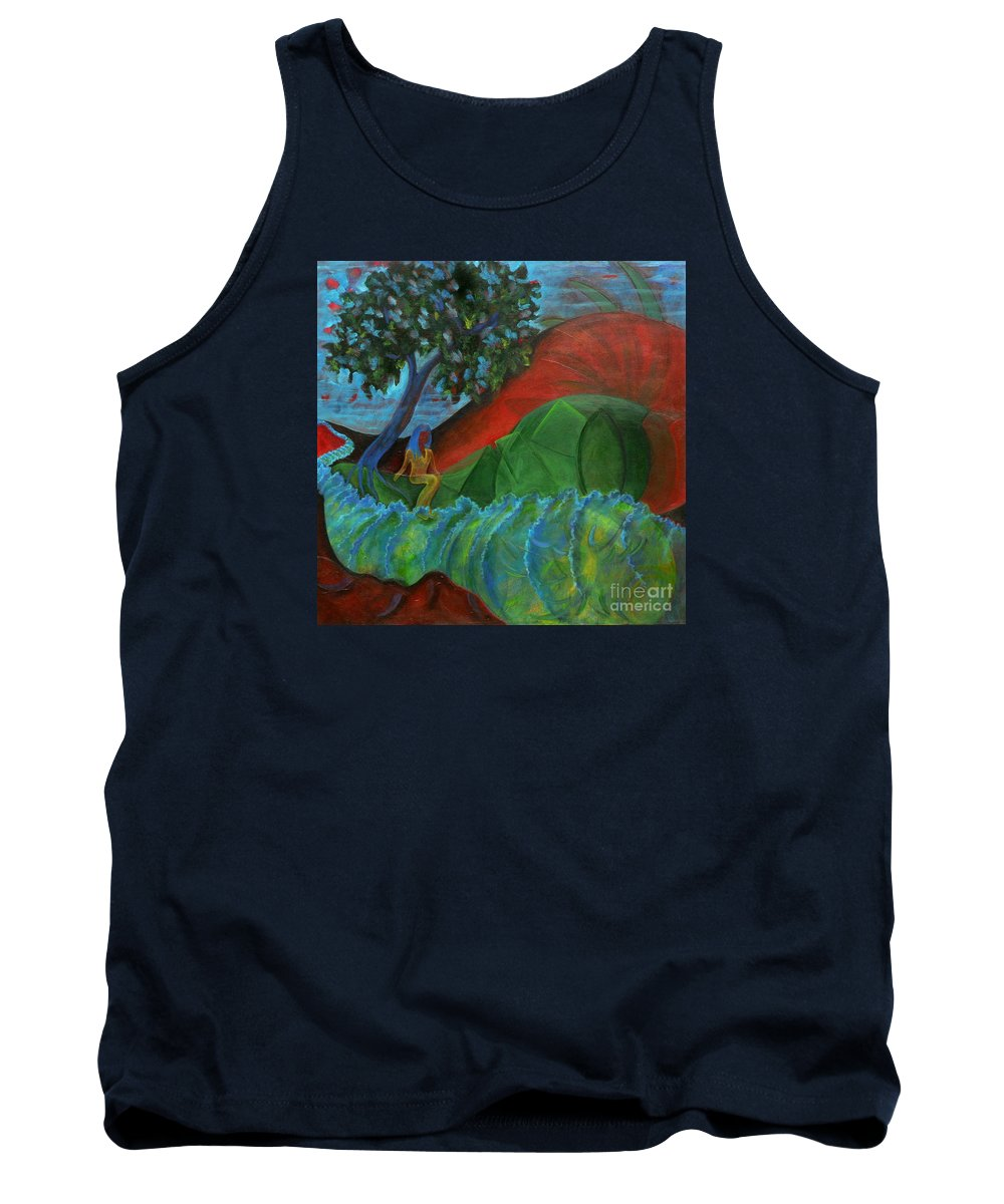 Surreal Landscape Tank Top featuring the painting Uncertain Journey by Elizabeth Fontaine-Barr