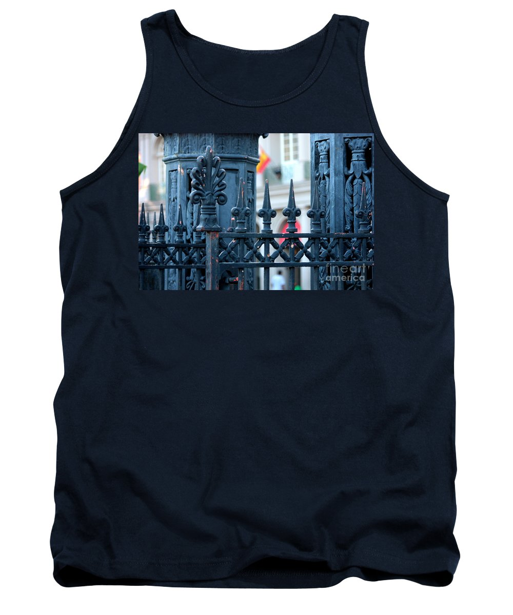 New Orleans Tank Top featuring the photograph Decorative Iron Fence In New Orleans by Carol Groenen