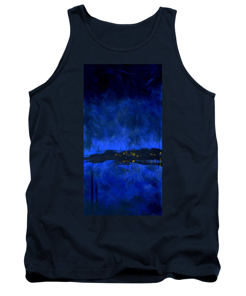 Deep Tank Top featuring the painting Deep Blue Triptych 2 Of 3 by Charles Harden
