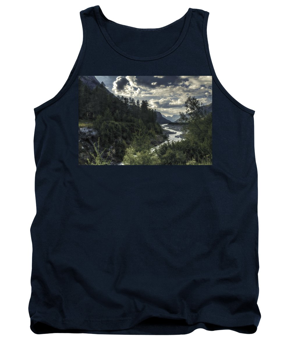 Color Efex Pro Tank Top featuring the photograph Desaturated Mountainscape by Roberto Pagani
