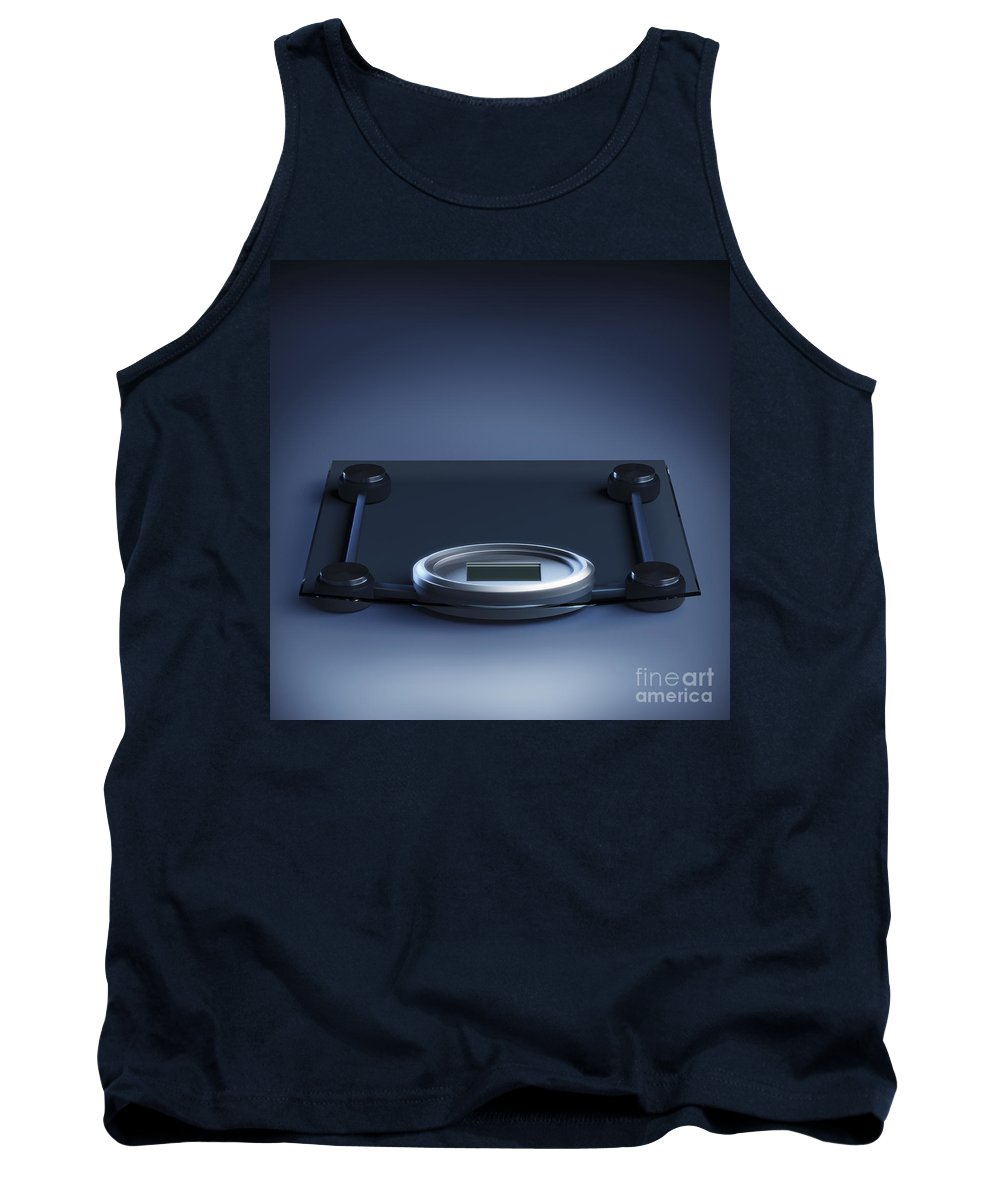 Blue Background Tank Top featuring the photograph Digital Weighing Scales by Science Picture Co