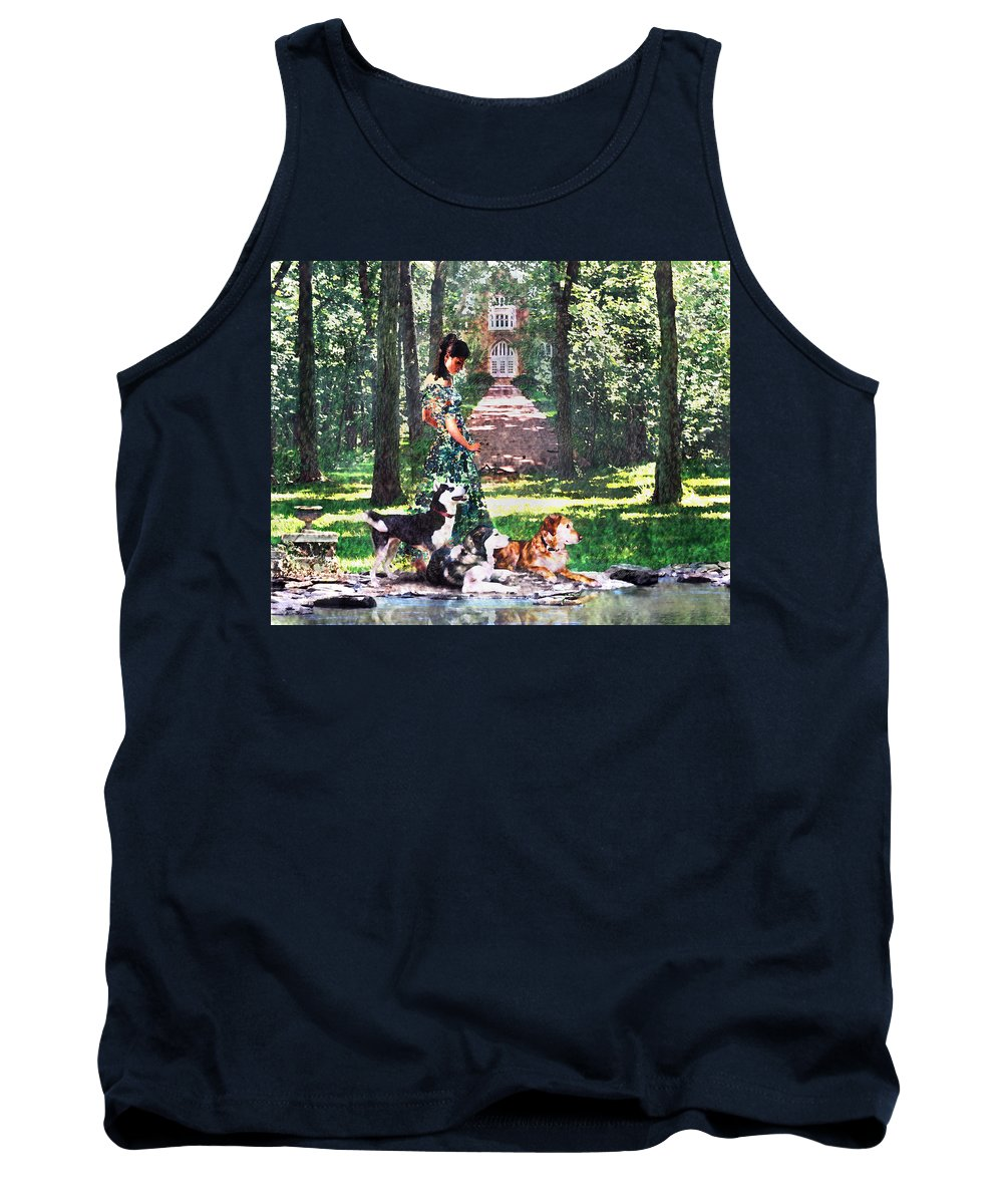 Landscape Tank Top featuring the photograph Dogs Lay At Her Feet by Steve Karol
