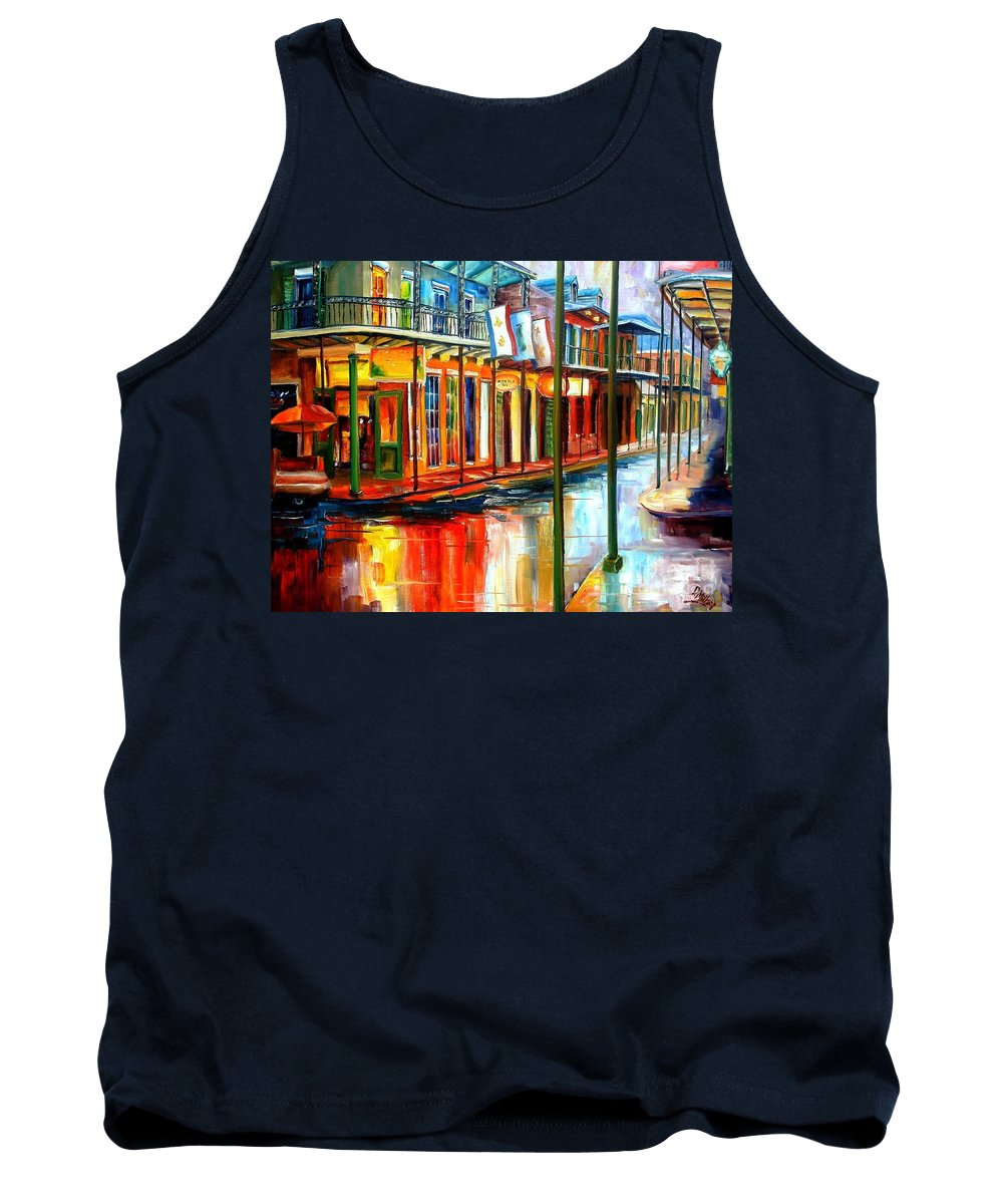 New Orleans Tank Top featuring the painting Downpour On Bourbon Street by Diane Millsap