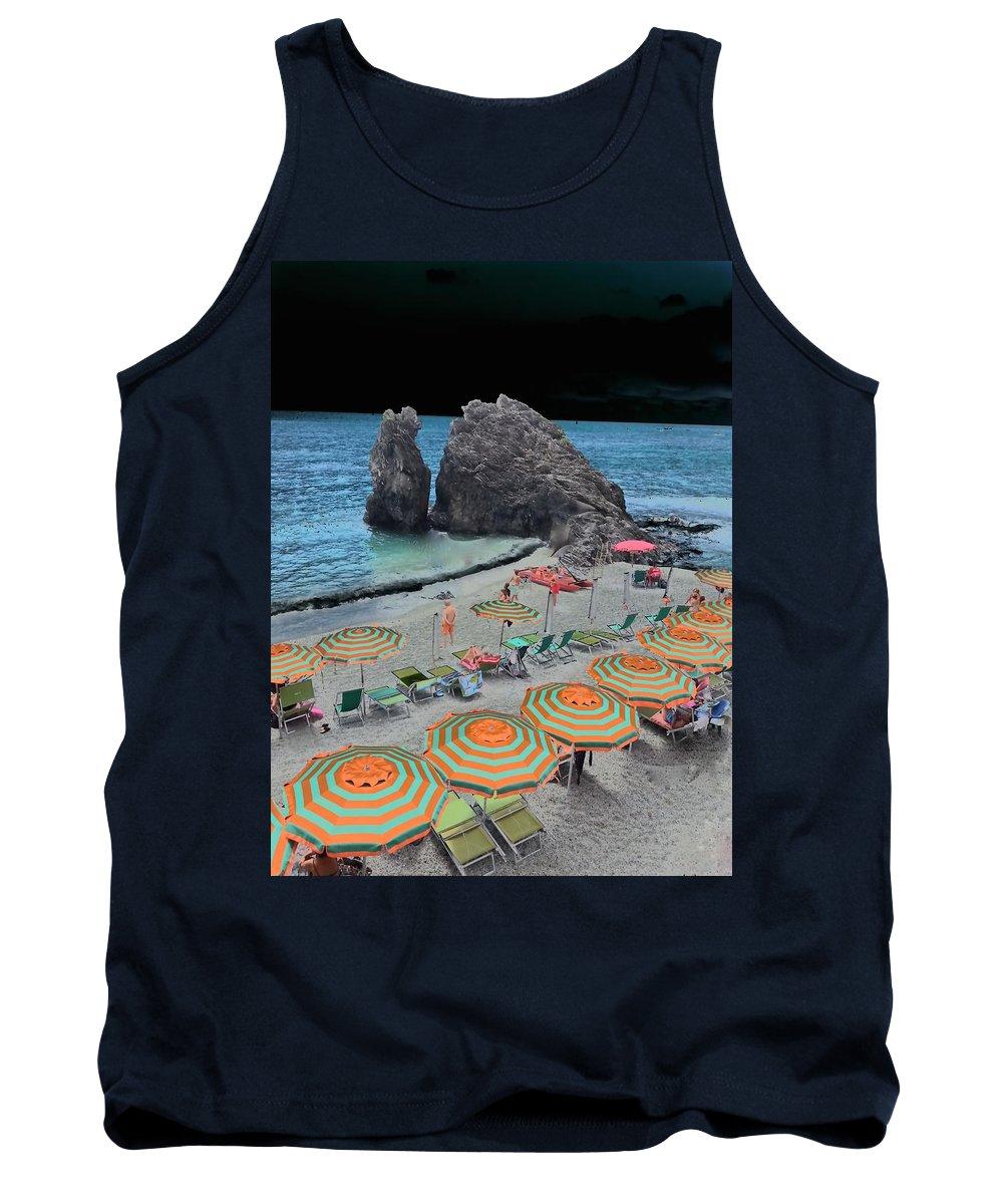 Mark J Dunn Tank Top featuring the photograph Cinque Terre Beach One by Mark J Dunn