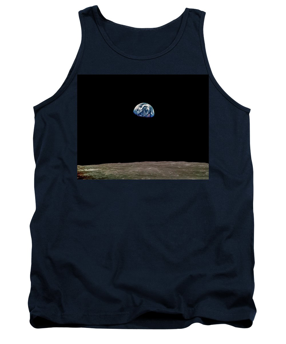Moon Tank Top featuring the photograph Earth Over Moon Apollo 8 by Chad Rowe