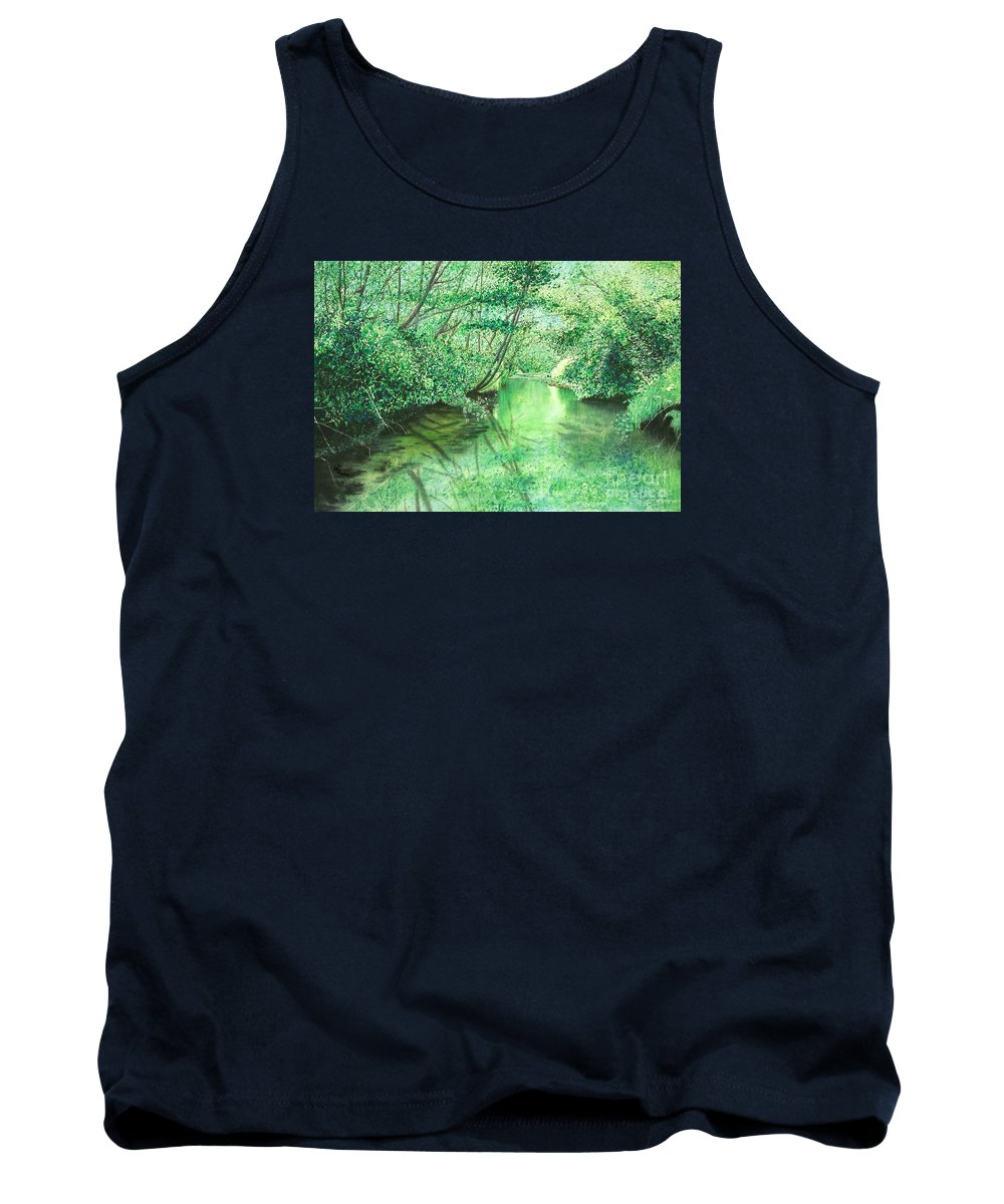Landscape Tank Top featuring the painting Emerald Stream by Lynn Quinn