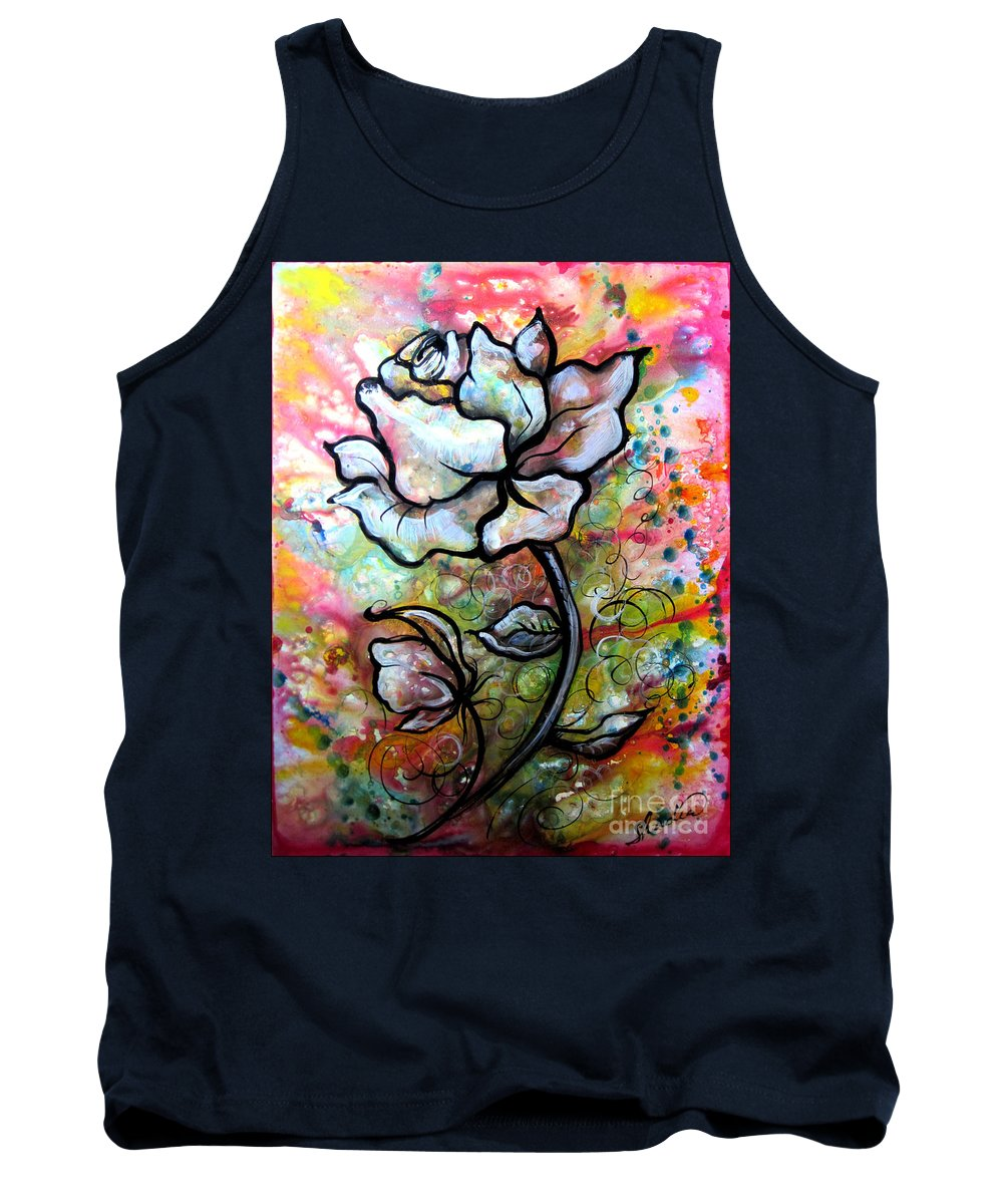 Art Tank Top featuring the painting Ethereal Rose by Shadia Derbyshire