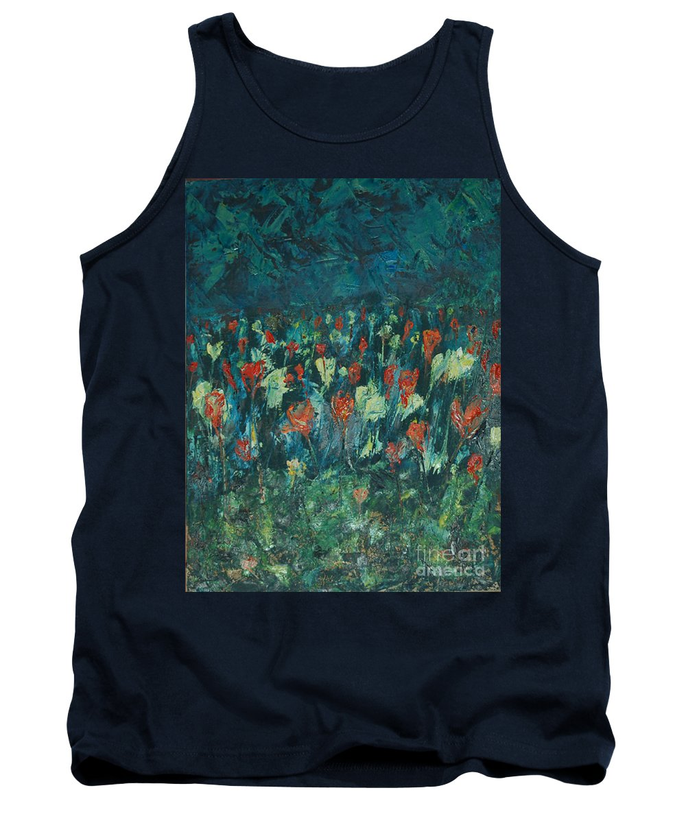 Flowers Tank Top featuring the painting Evening Buds by Mini Arora